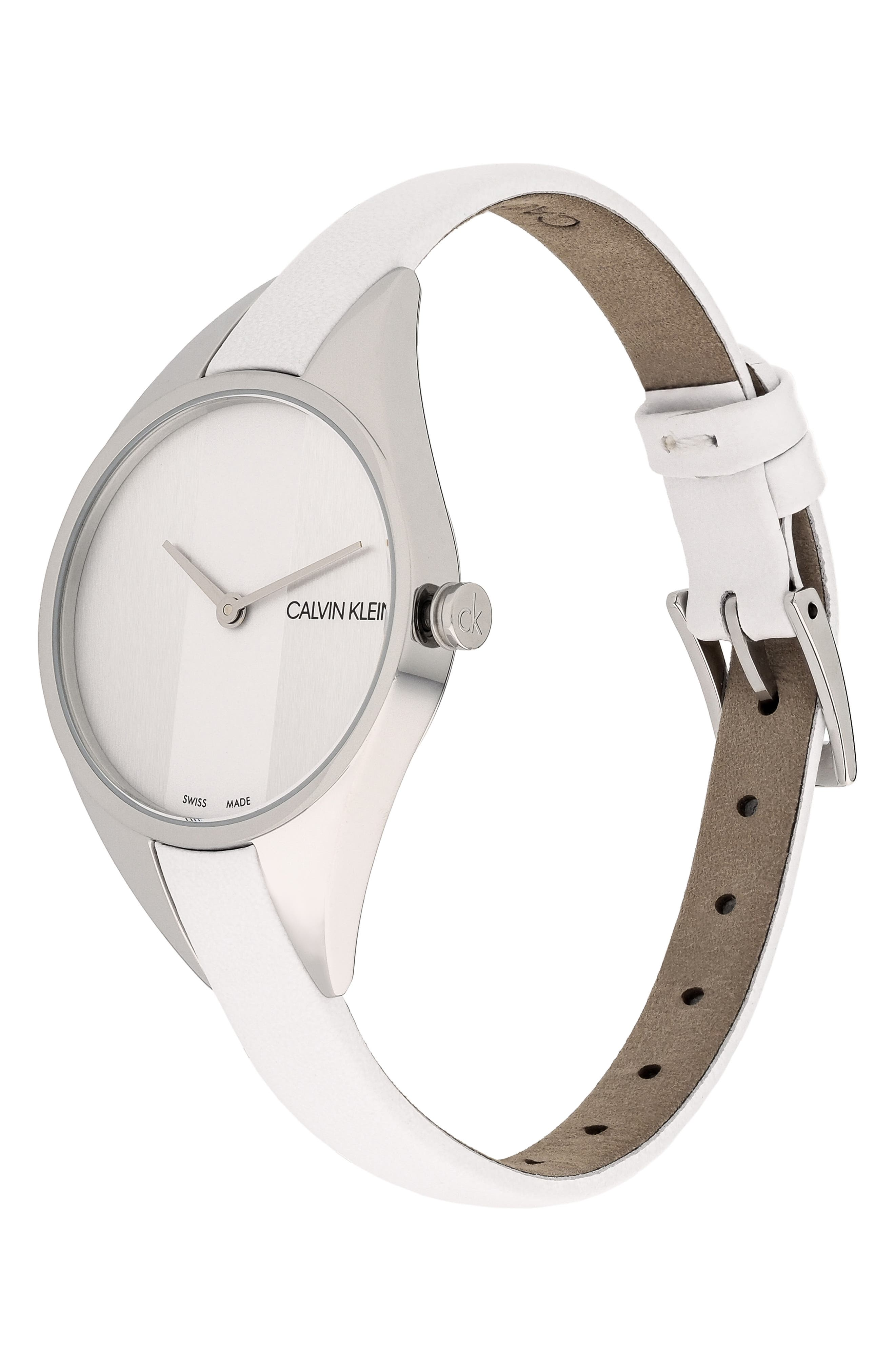 CALVIN KLEIN, Achieve Rebel Leather Band Watch, 29mm, Alternate thumbnail 4, color, WHITE/ SILVER
