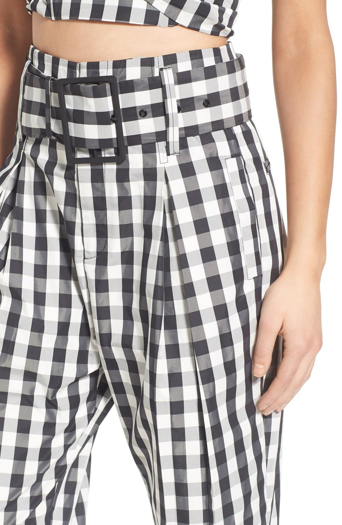 KENDALL + KYLIE, Gingham High Rise Crop Pants, Alternate thumbnail 2, color, 003