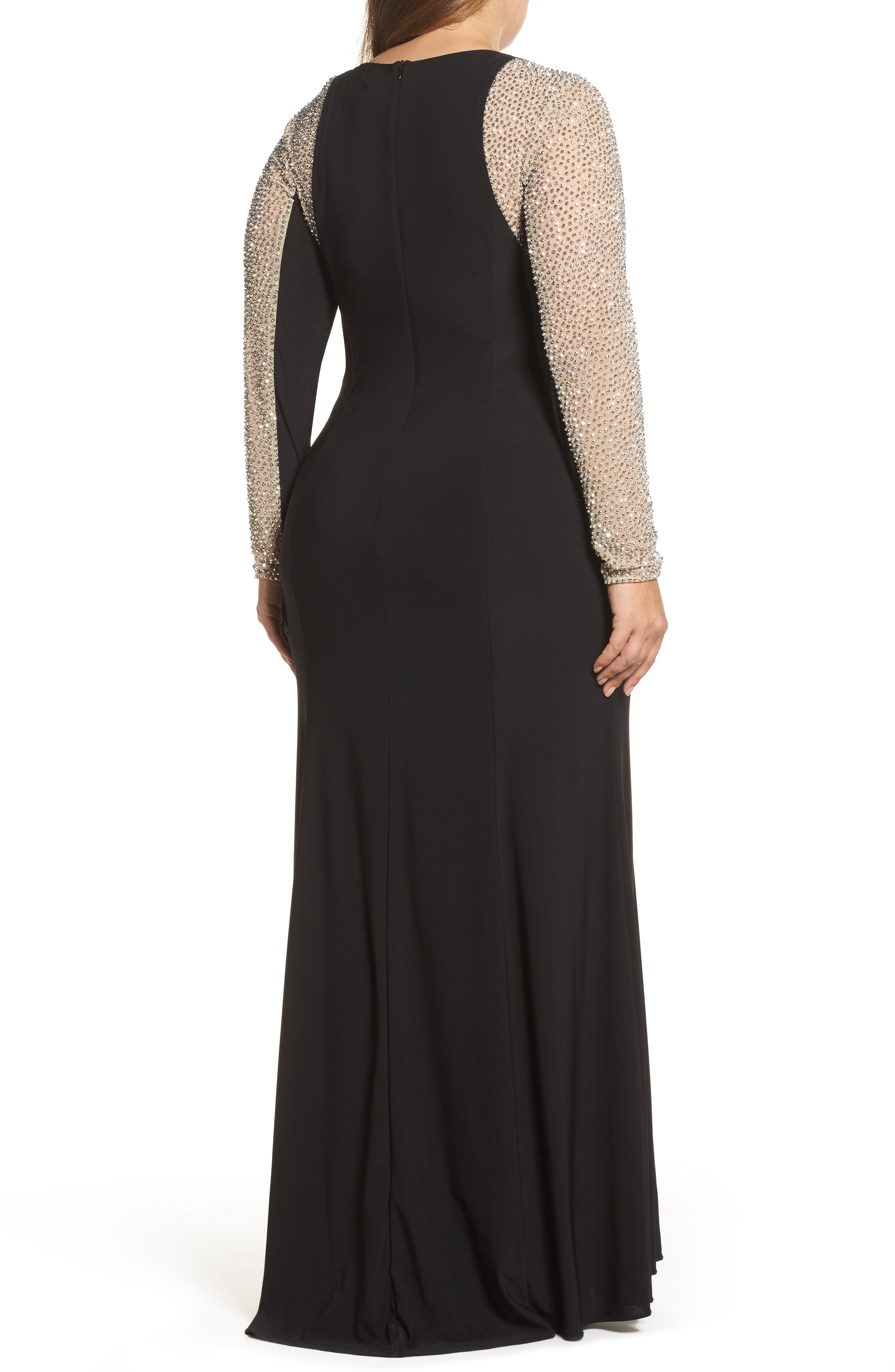 XSCAPE, Embellished Jersey Gown, Alternate thumbnail 2, color, BLACK/ NUDE/ SILVER