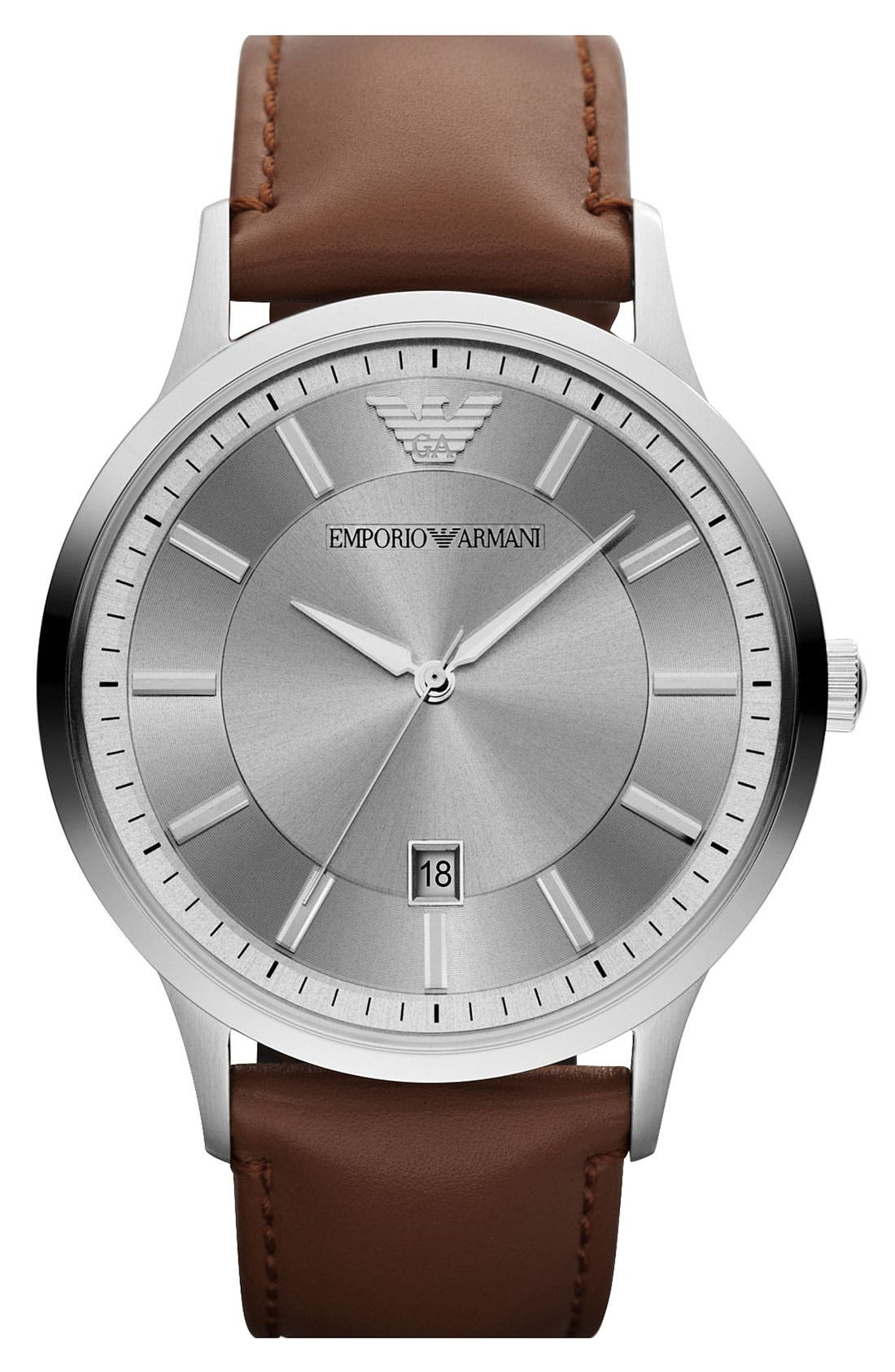 EMPORIO ARMANI, Round Leather Strap Watch, 43mm, Main thumbnail 1, color, 200