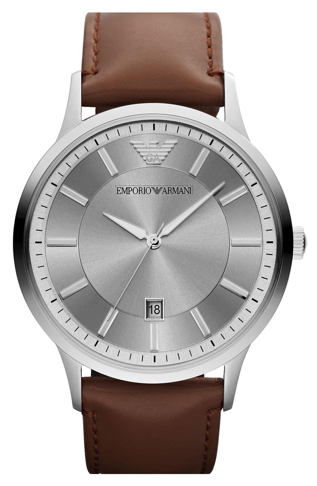 EMPORIO ARMANI Round Leather Strap Watch, 43mm, Main, color, 200