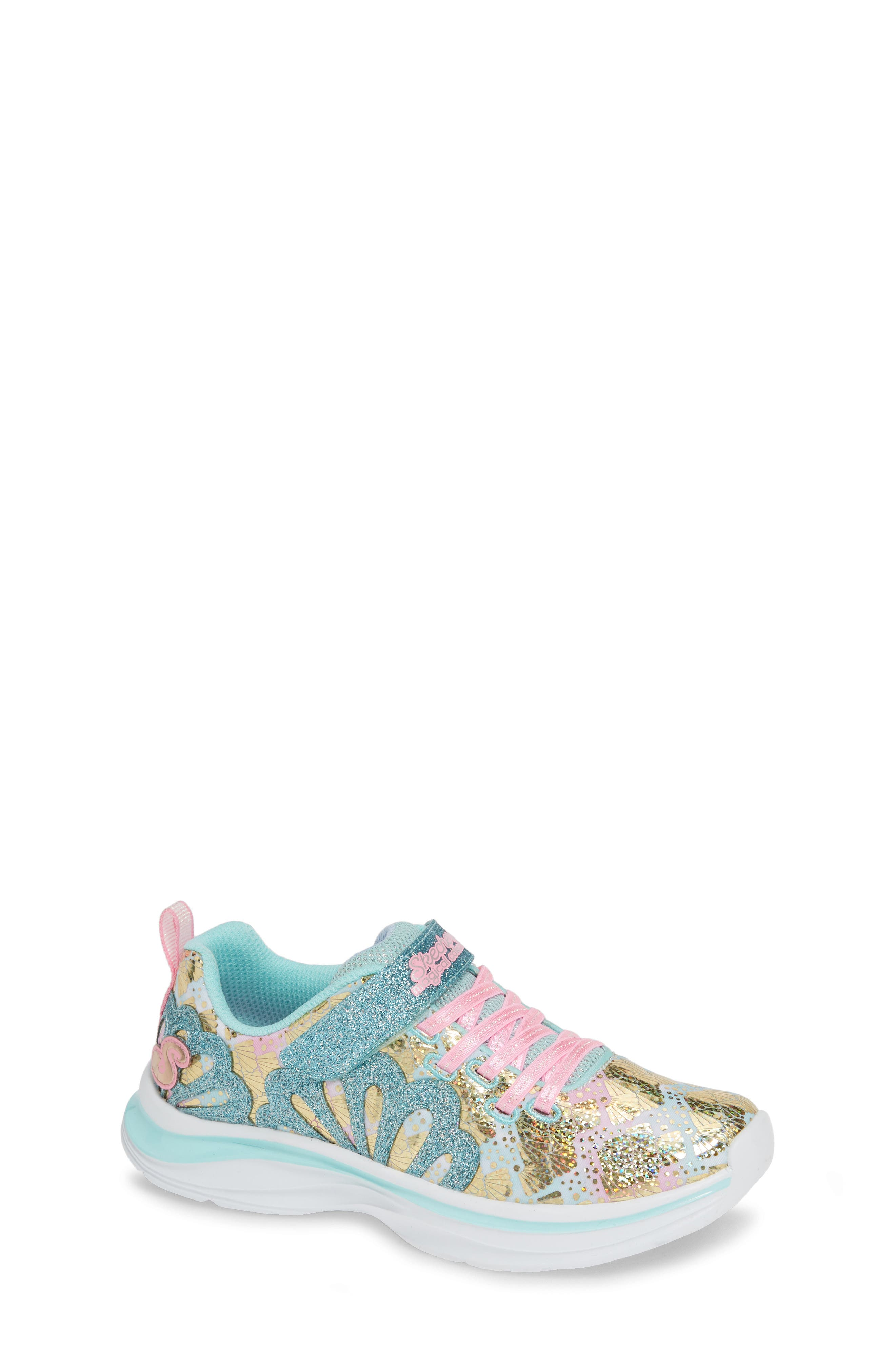 SKECHERS, Double Dreams Shimmer Sneaker, Main thumbnail 1, color, AQUA/ PINK TEXTILE