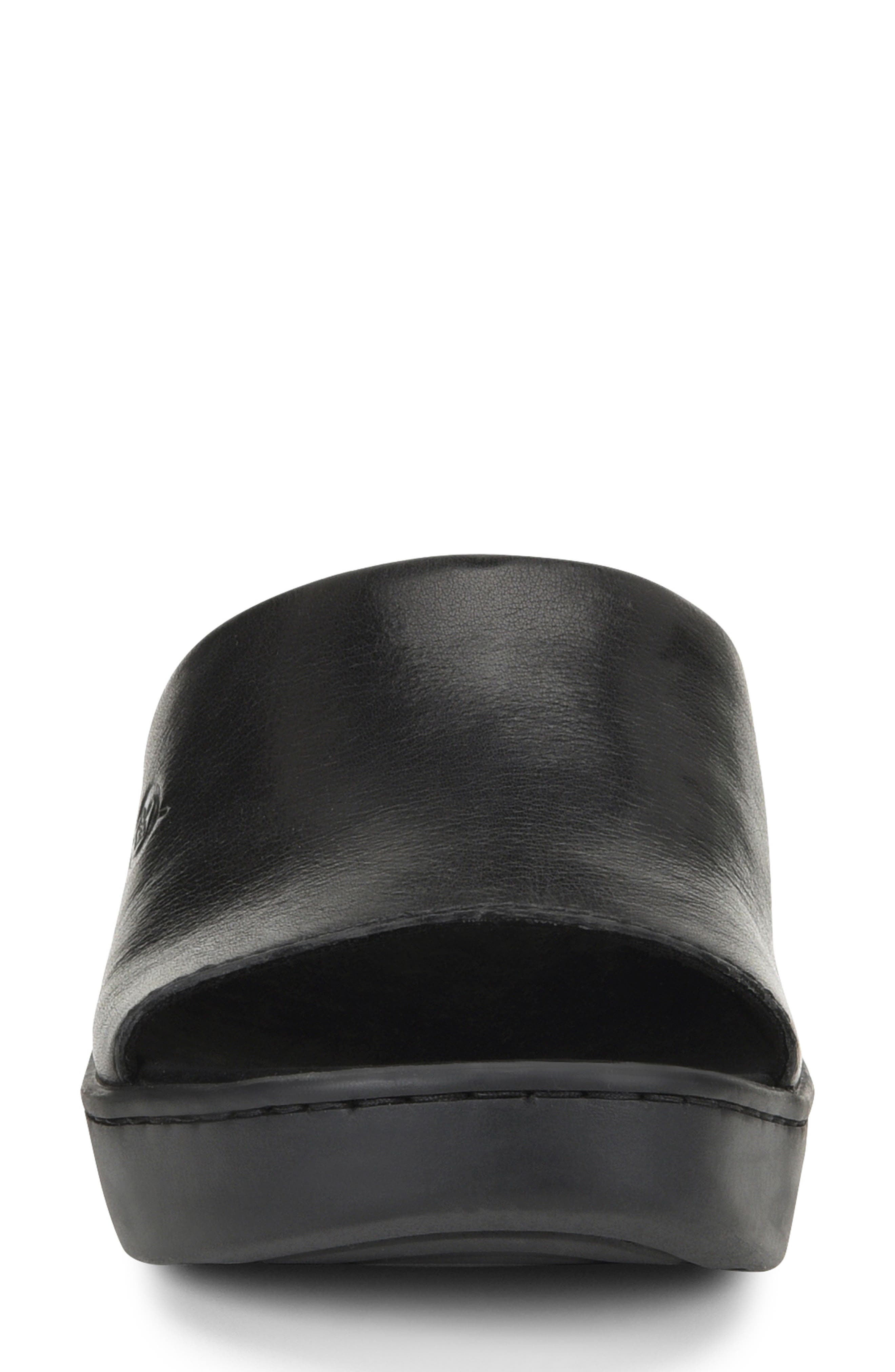 BØRN, Ottawa Slide Sandal, Alternate thumbnail 4, color, BLACK LEATHER