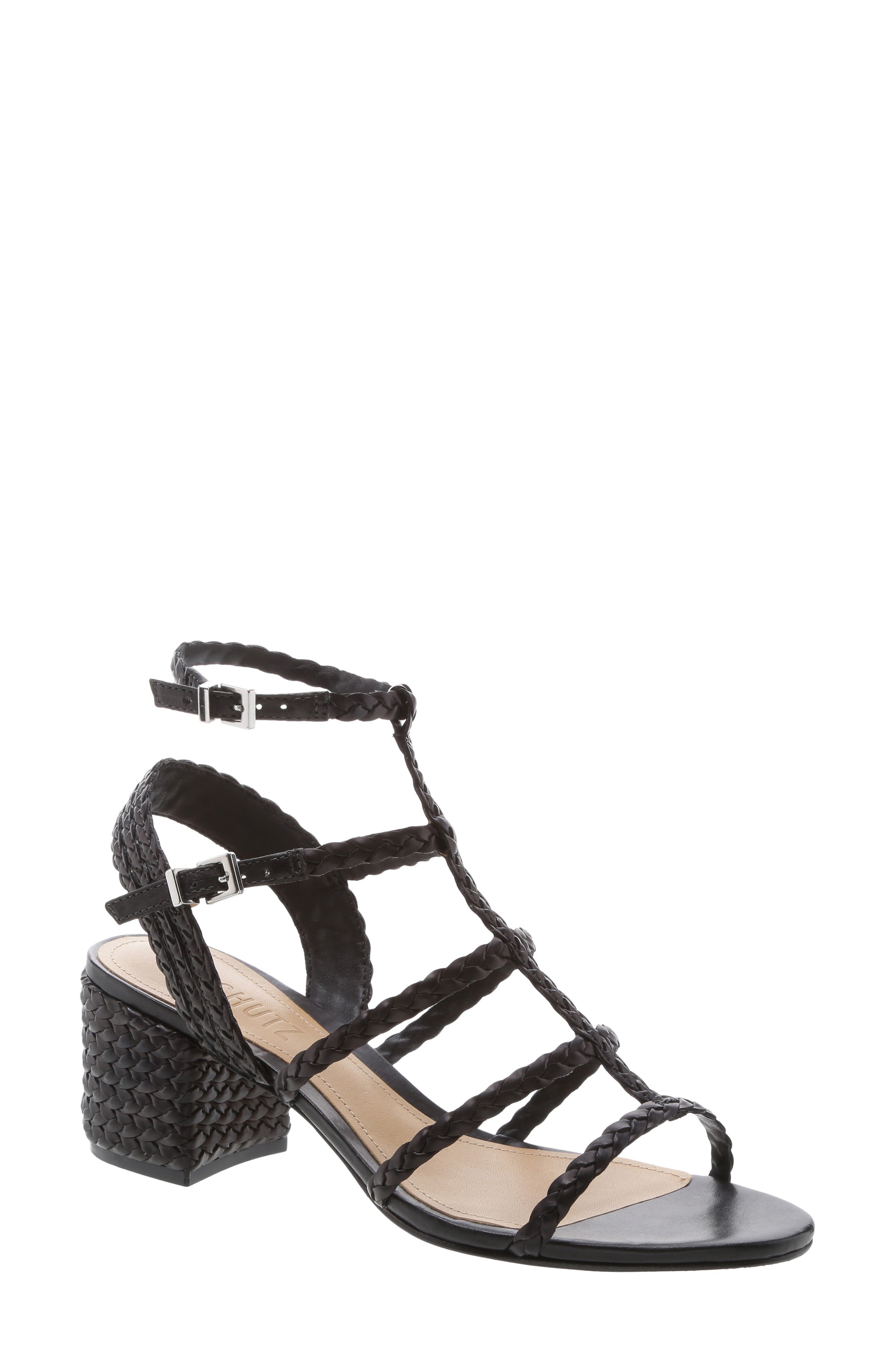 SCHUTZ, Rosalia Block Heel Sandal, Main thumbnail 1, color, BLACK LEATHER