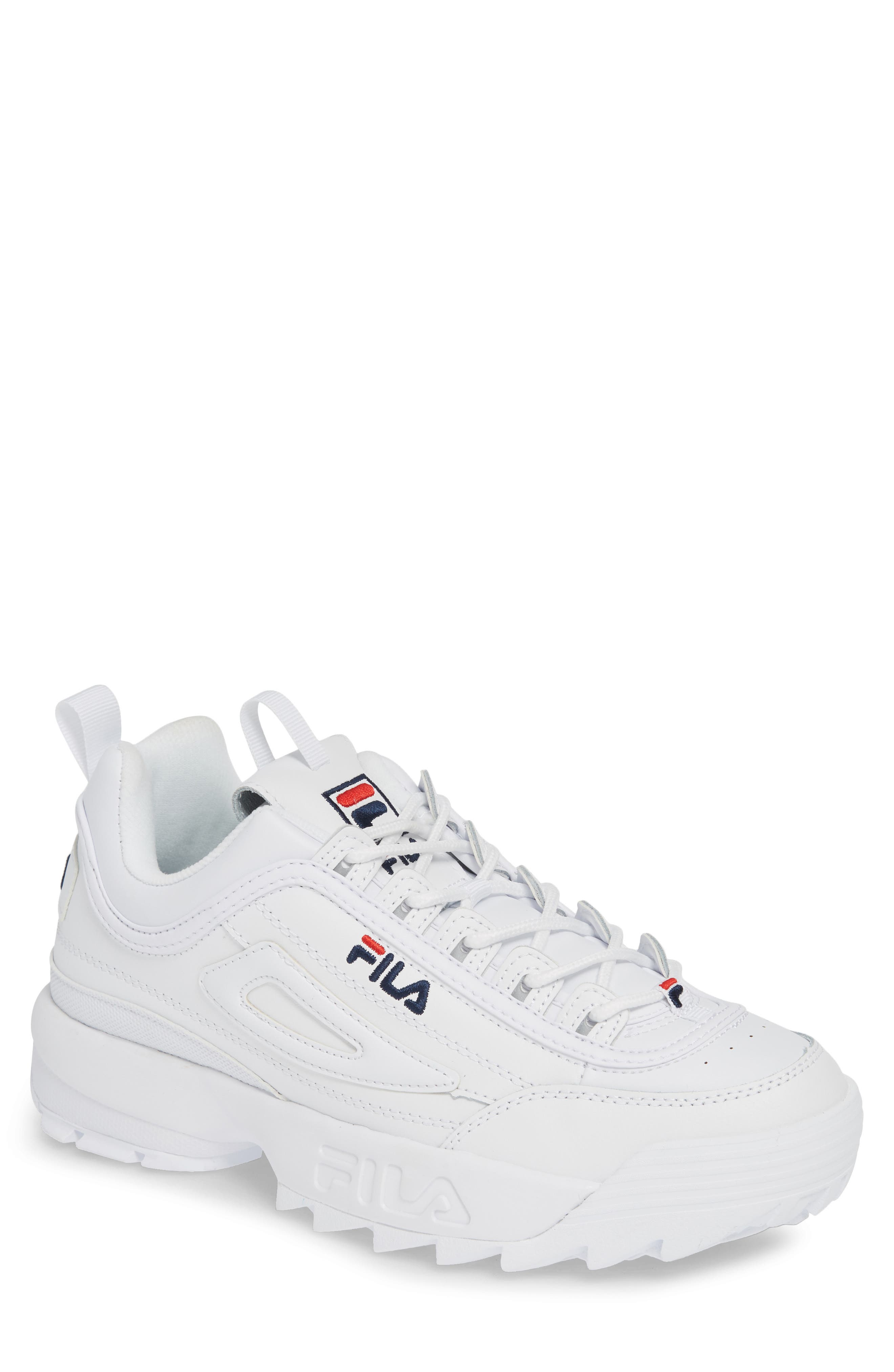 FILA, Disruptor II Premium Sneaker, Main thumbnail 1, color, WHITE/ NAVY/ RED
