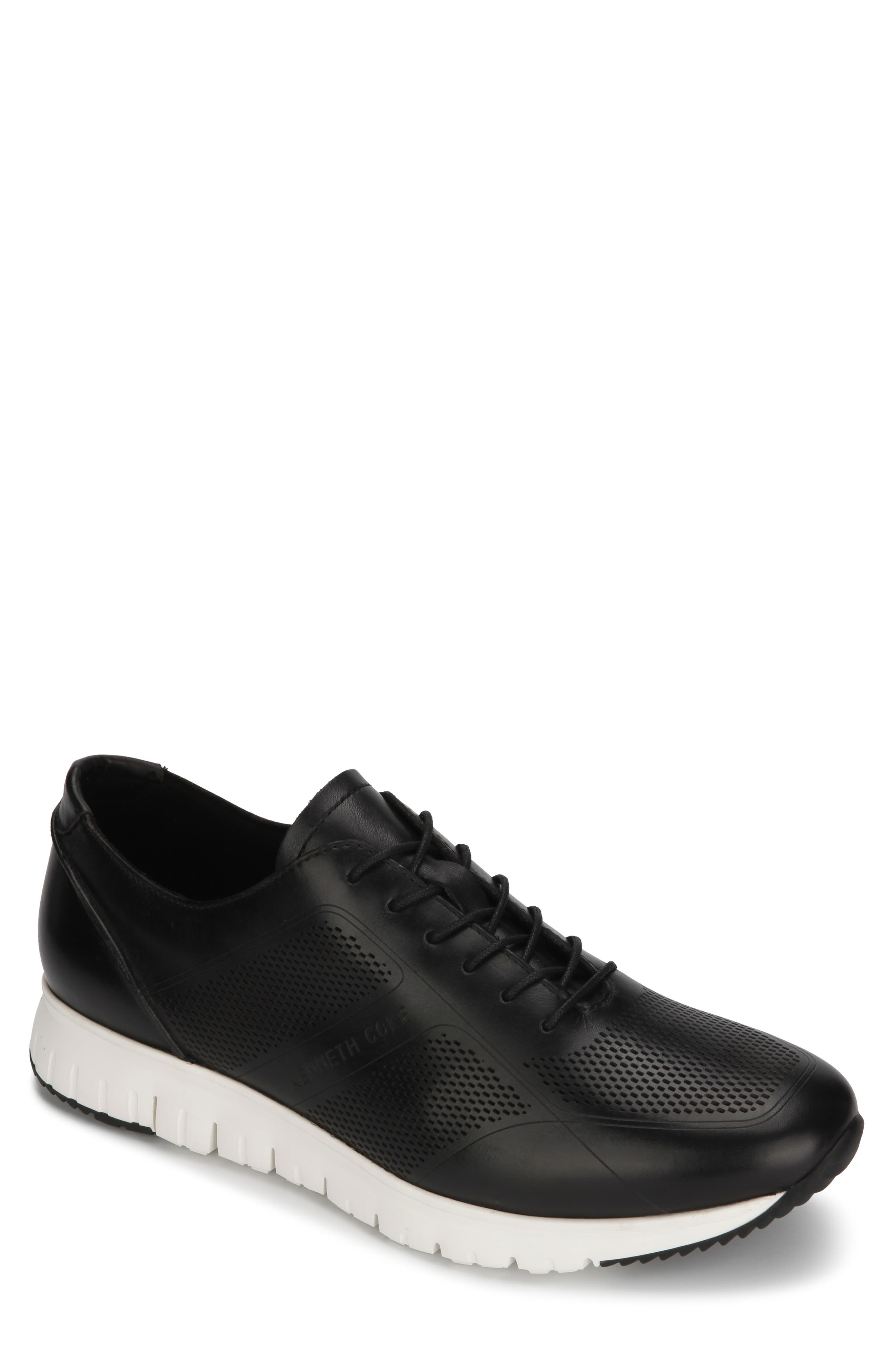 KENNETH COLE NEW YORK, Bailey Sneaker, Main thumbnail 1, color, BLACK LASERED LEATHER