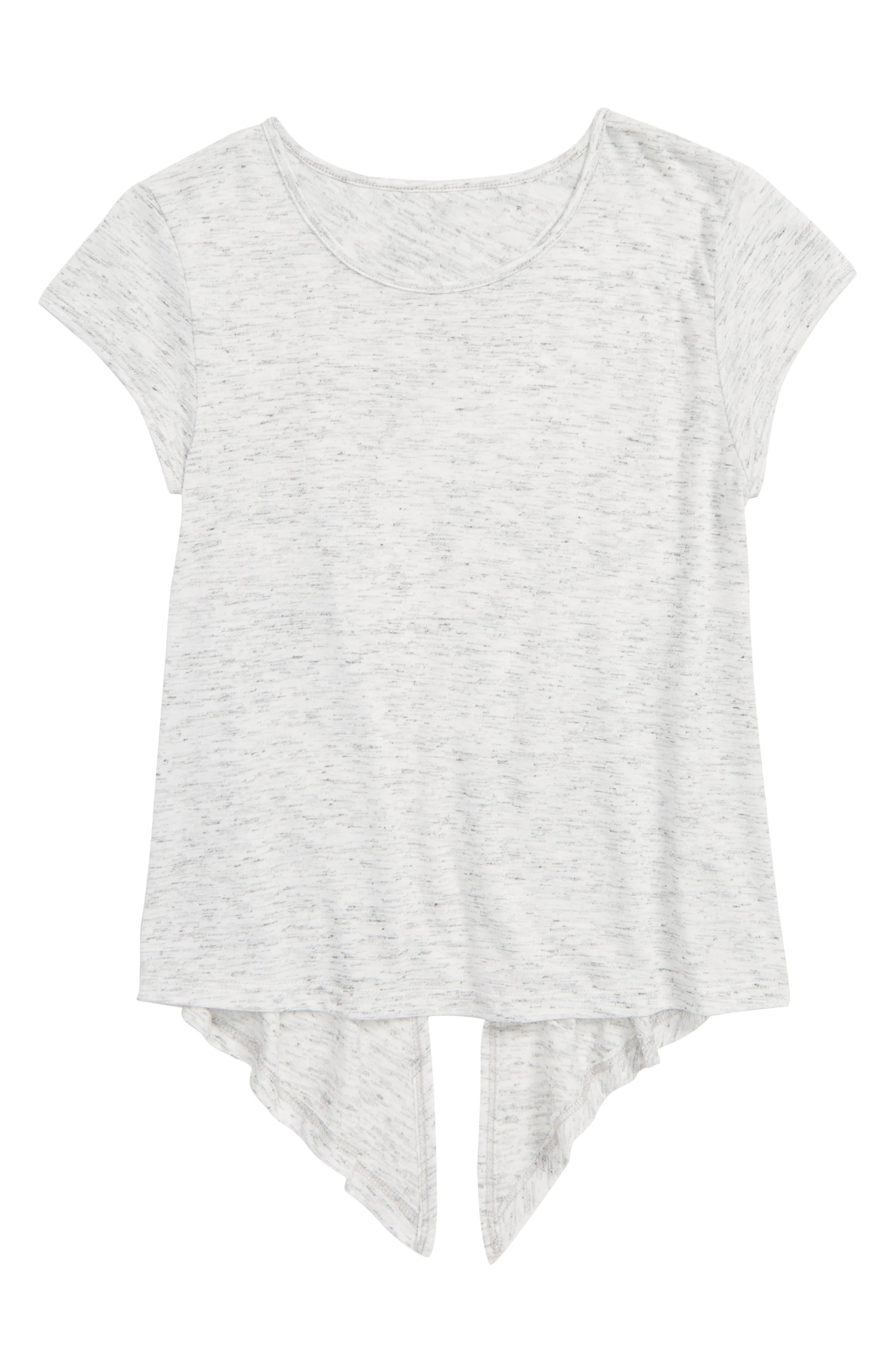 ZELLA GIRL Tango Tie Back Tee, Main, color, WHITE HEATHER