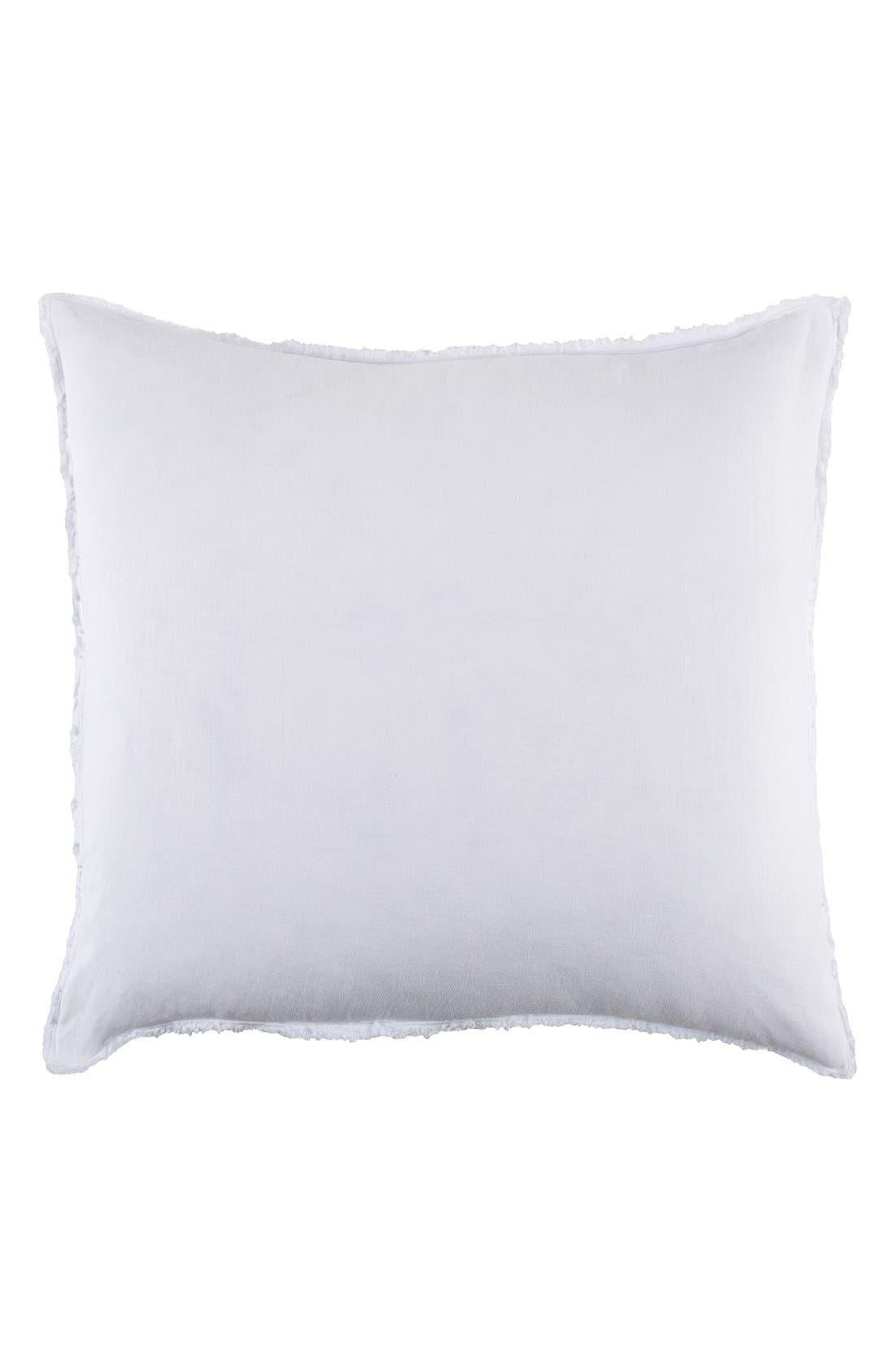 POM POM AT HOME, 'Blair' Linen Euro Pillow Sham, Main thumbnail 1, color, WHITE