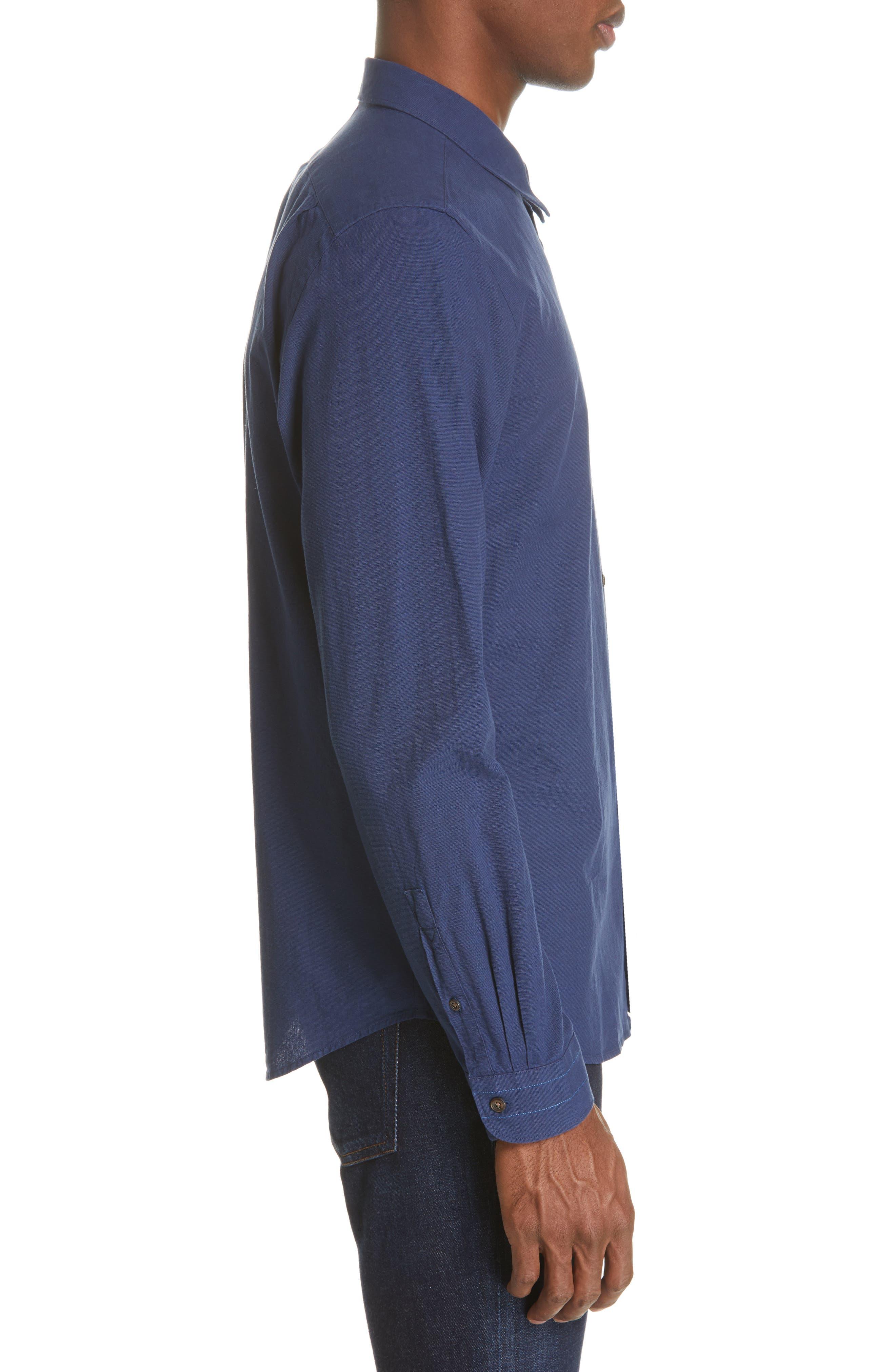 PS PAUL SMITH, Contrast Sport Shirt, Alternate thumbnail 4, color, BLUE