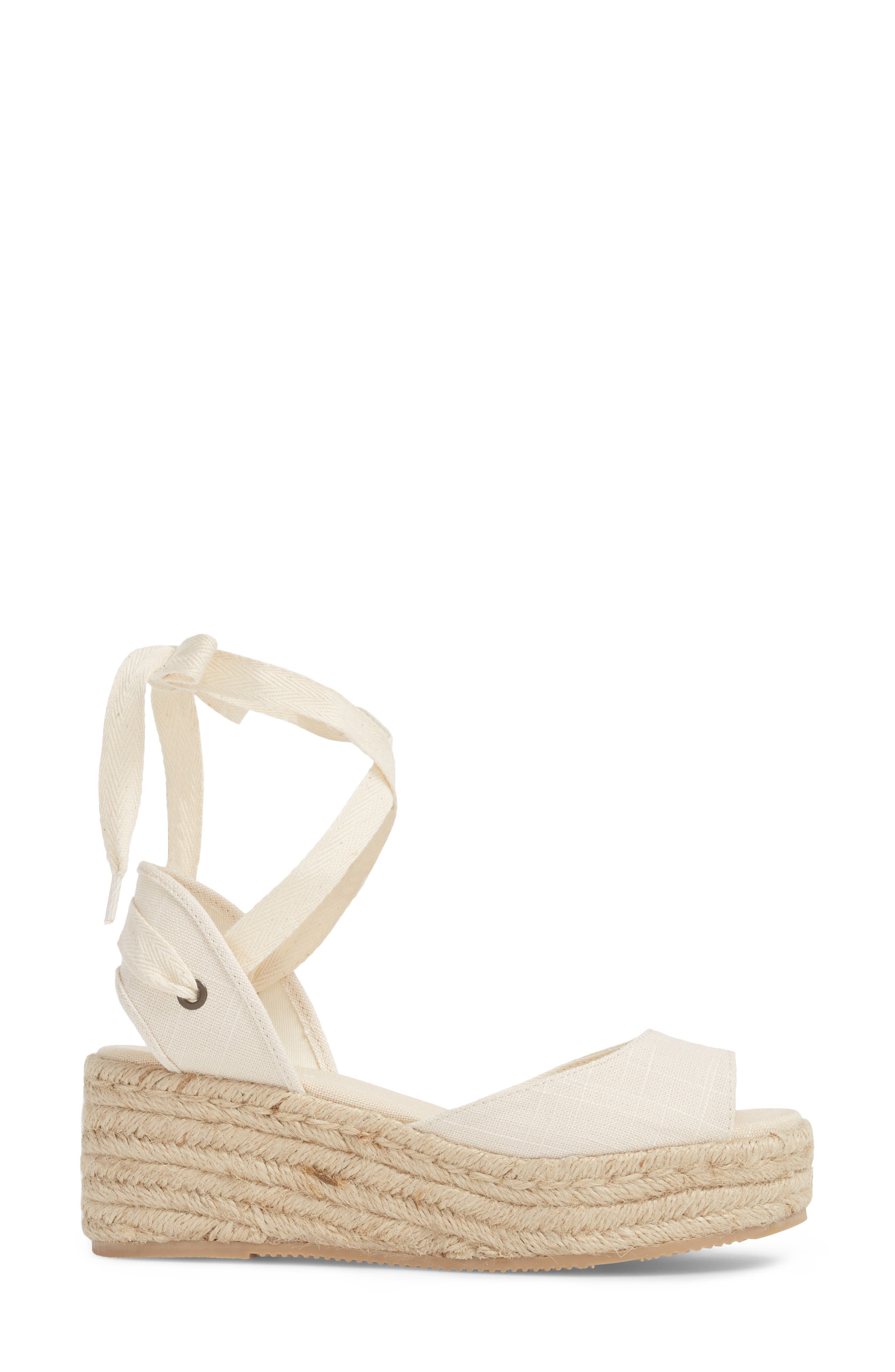 SOLUDOS, Espadrille Platform Sandal, Alternate thumbnail 3, color, BLUSH FABRIC
