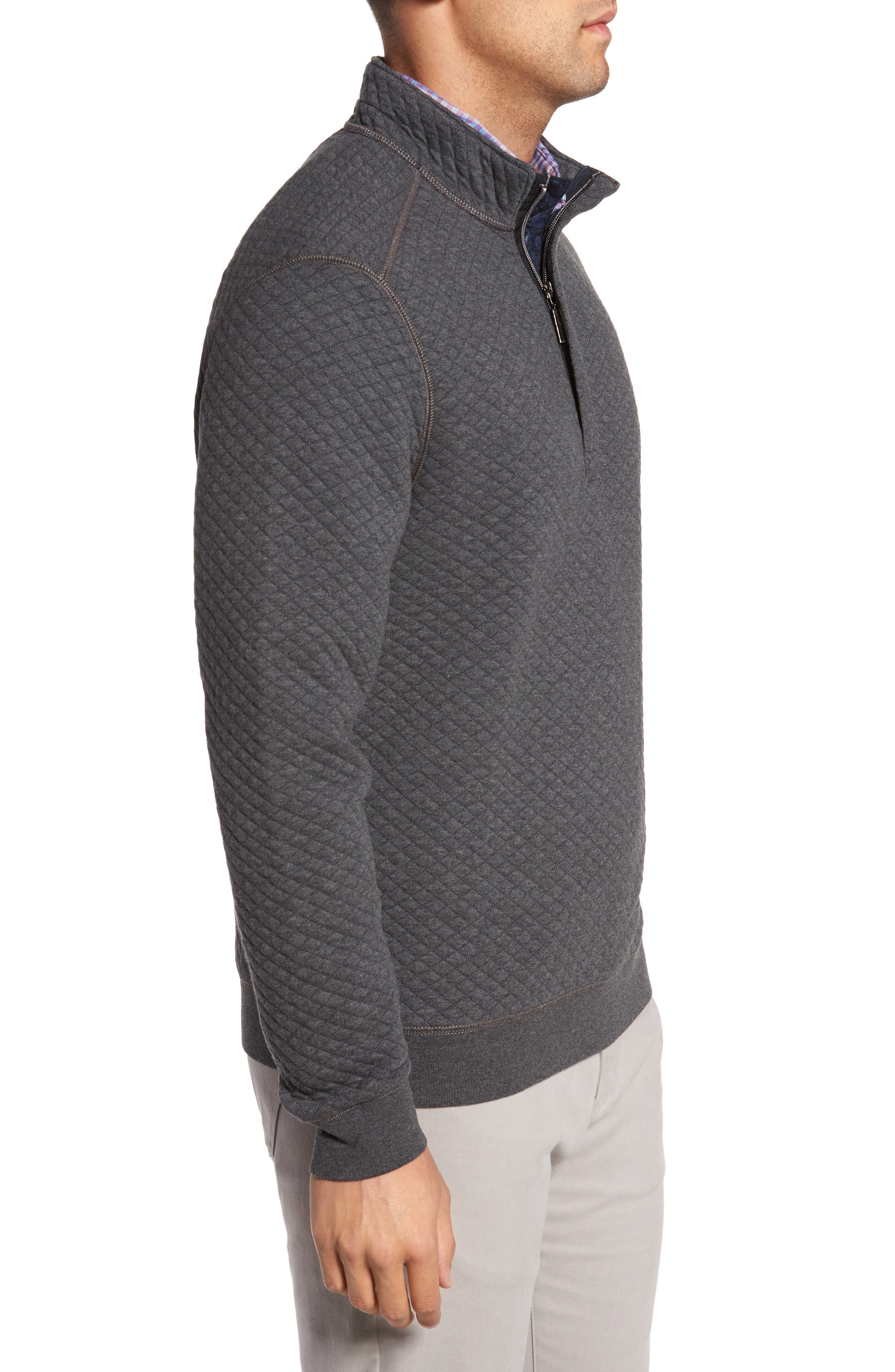 TOMMY BAHAMA, Quiltessential Standard Fit Quarter Zip Pullover, Alternate thumbnail 3, color, CHARCOAL HEATHER