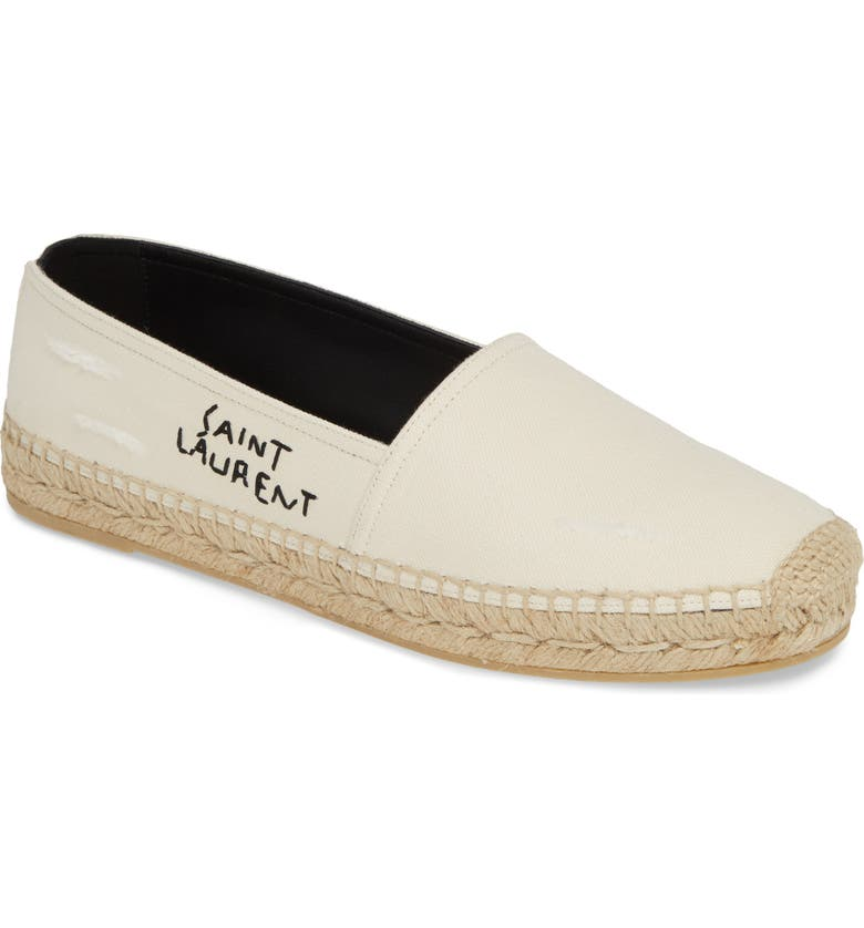 SAINT LAURENT Logo Embroidered Espadrille, Main, color, CREAM/ BLACK