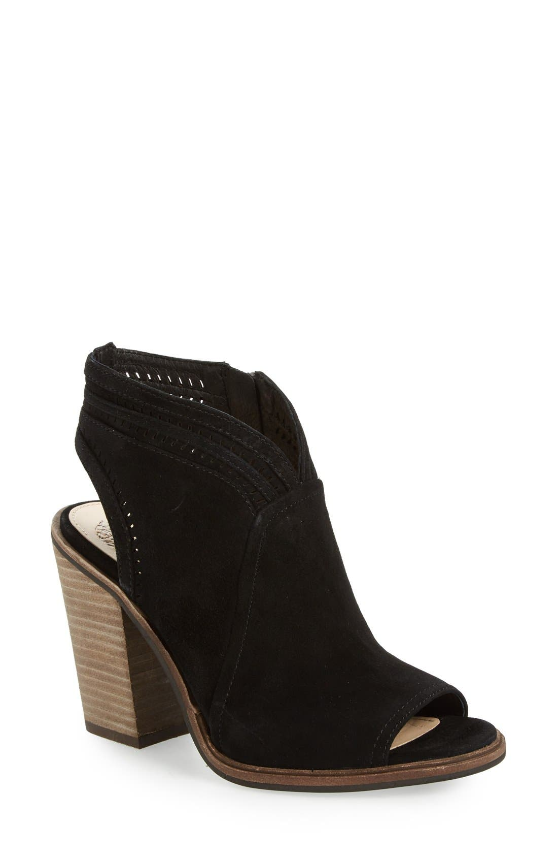 VINCE CAMUTO, 'Koral' Perforated Open Toe Bootie, Main thumbnail 1, color, 001
