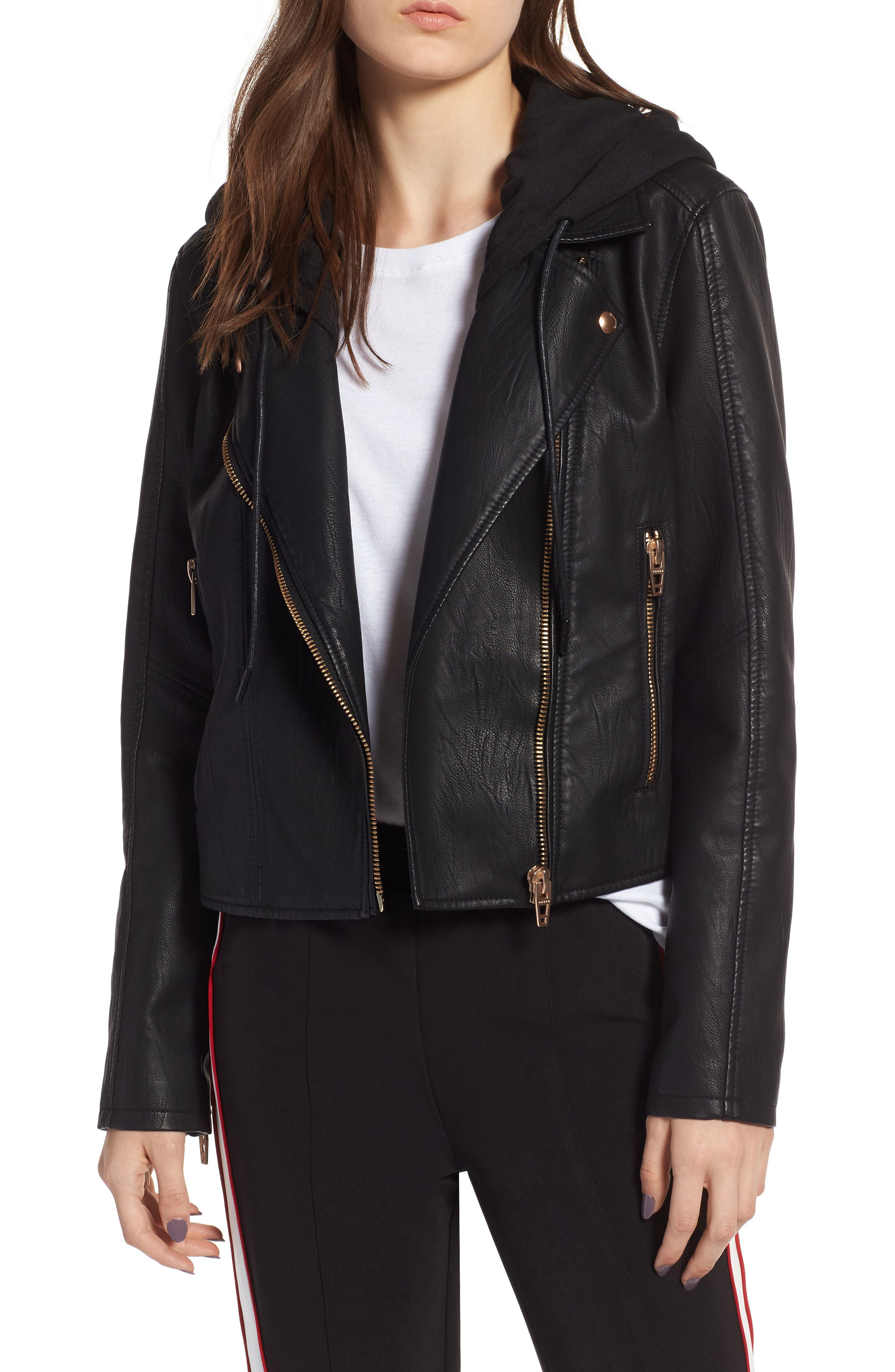 BLANKNYC, Meant to Be Moto Jacket with Removable Hood, Main thumbnail 1, color, BLACK