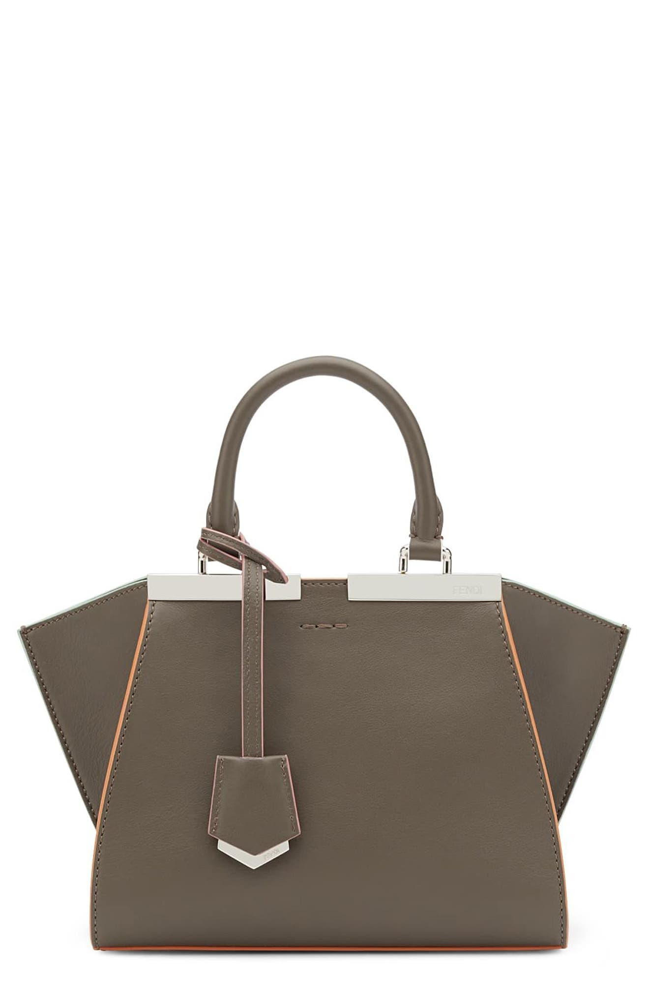 FENDI, 'Mini 3Jours' Calfskin Leather Shopper, Main thumbnail 1, color, 077