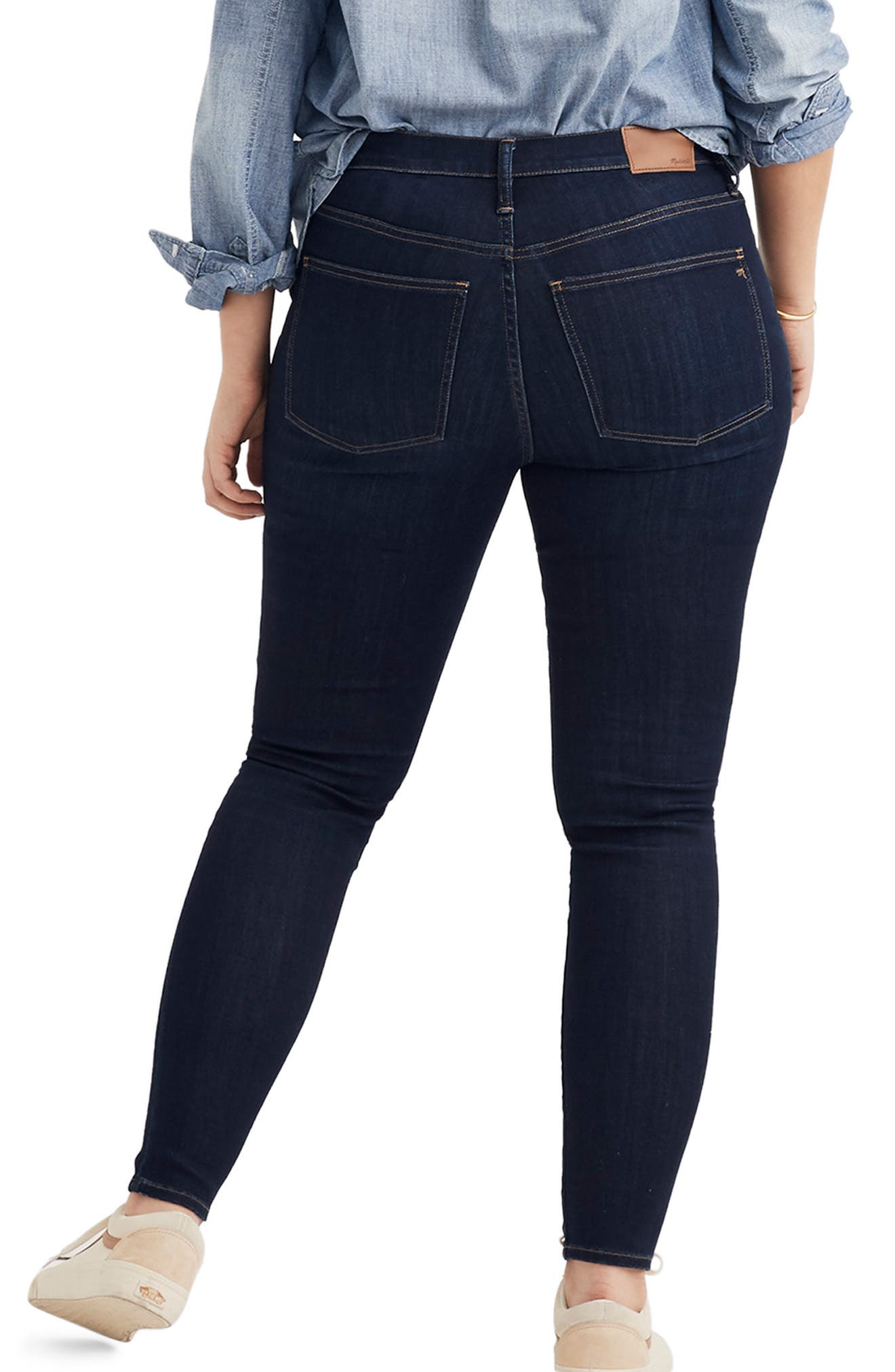 MADEWELL, 9-Inch High Rise Skinny Jeans, Alternate thumbnail 9, color, LARKSPUR