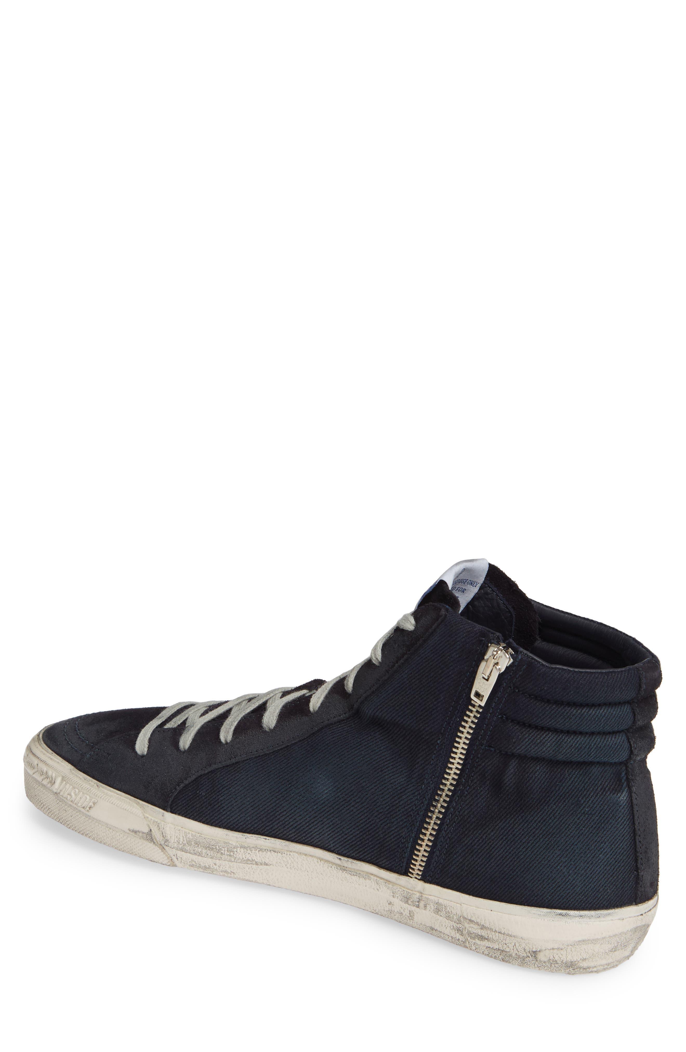 GOLDEN GOOSE, 'Slide' Sneaker, Alternate thumbnail 2, color, NAVY DENIM
