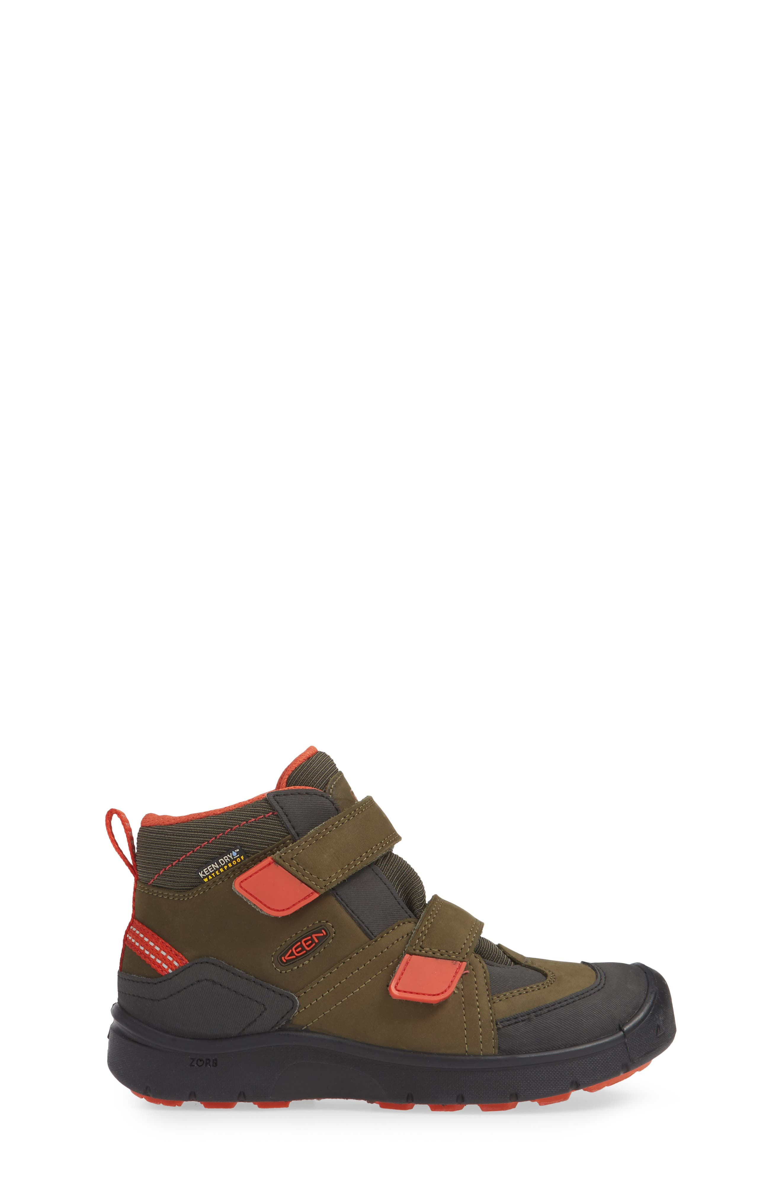 KEEN, Hikeport Strap Waterproof Mid Boot, Alternate thumbnail 3, color, MARTINI OLIVE/ PUMPKIN