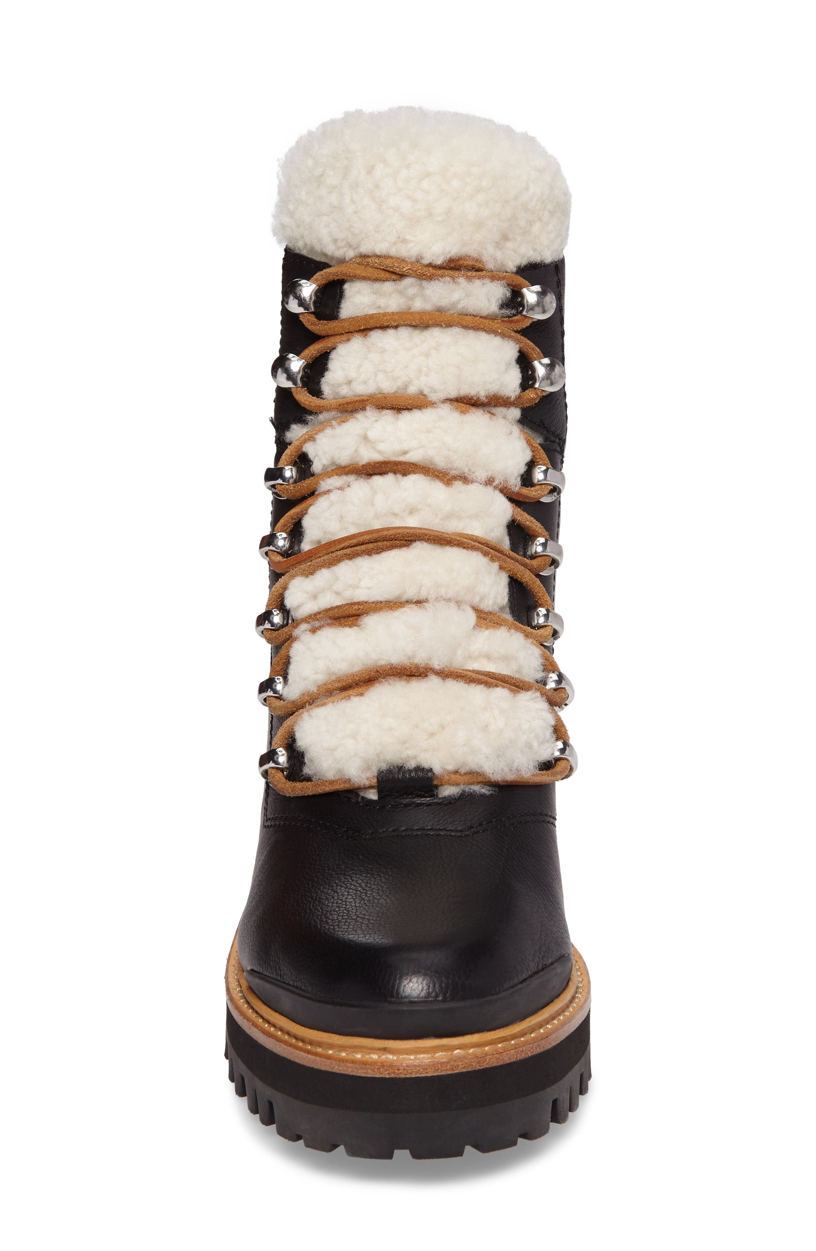 MARC FISHER LTD, Izzie Genuine Shearling Lace-Up Boot, Alternate thumbnail 4, color, BLACK LEATHER