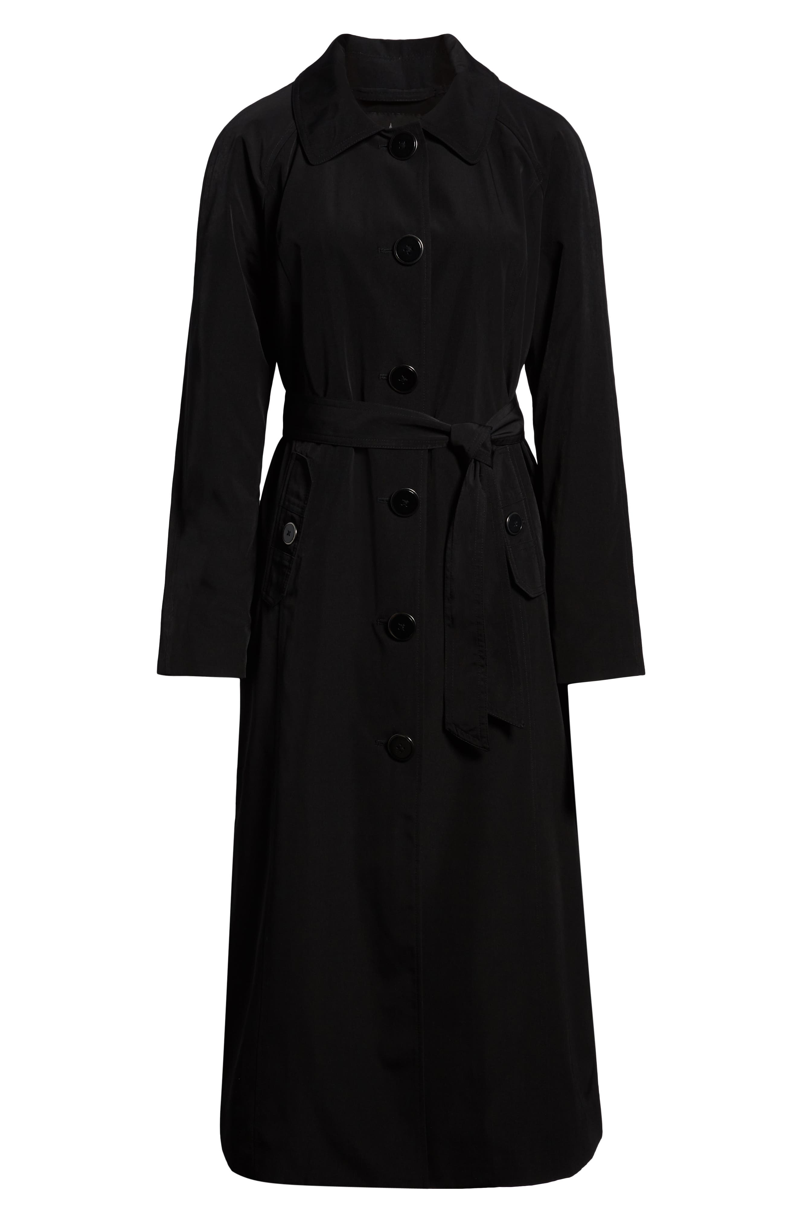 LONDON FOG, Long Trench Coat with Detachable Hood & Liner, Alternate thumbnail 6, color, BLACK