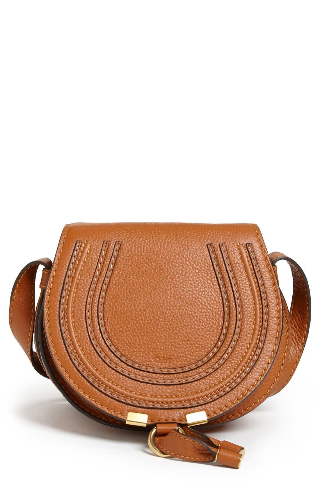 CHLOÉ, 'Mini Marcie' Leather Crossbody Bag, Main thumbnail 1, color, TAN GOLD HRDWRE