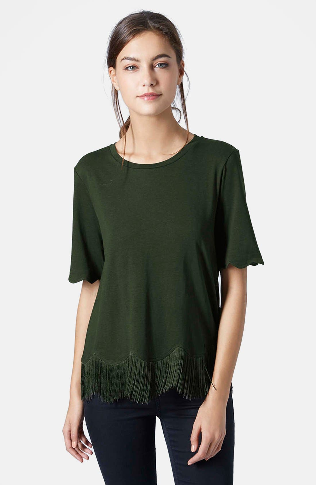 TOPSHOP, Fringe Scallop Tee, Main thumbnail 1, color, 301