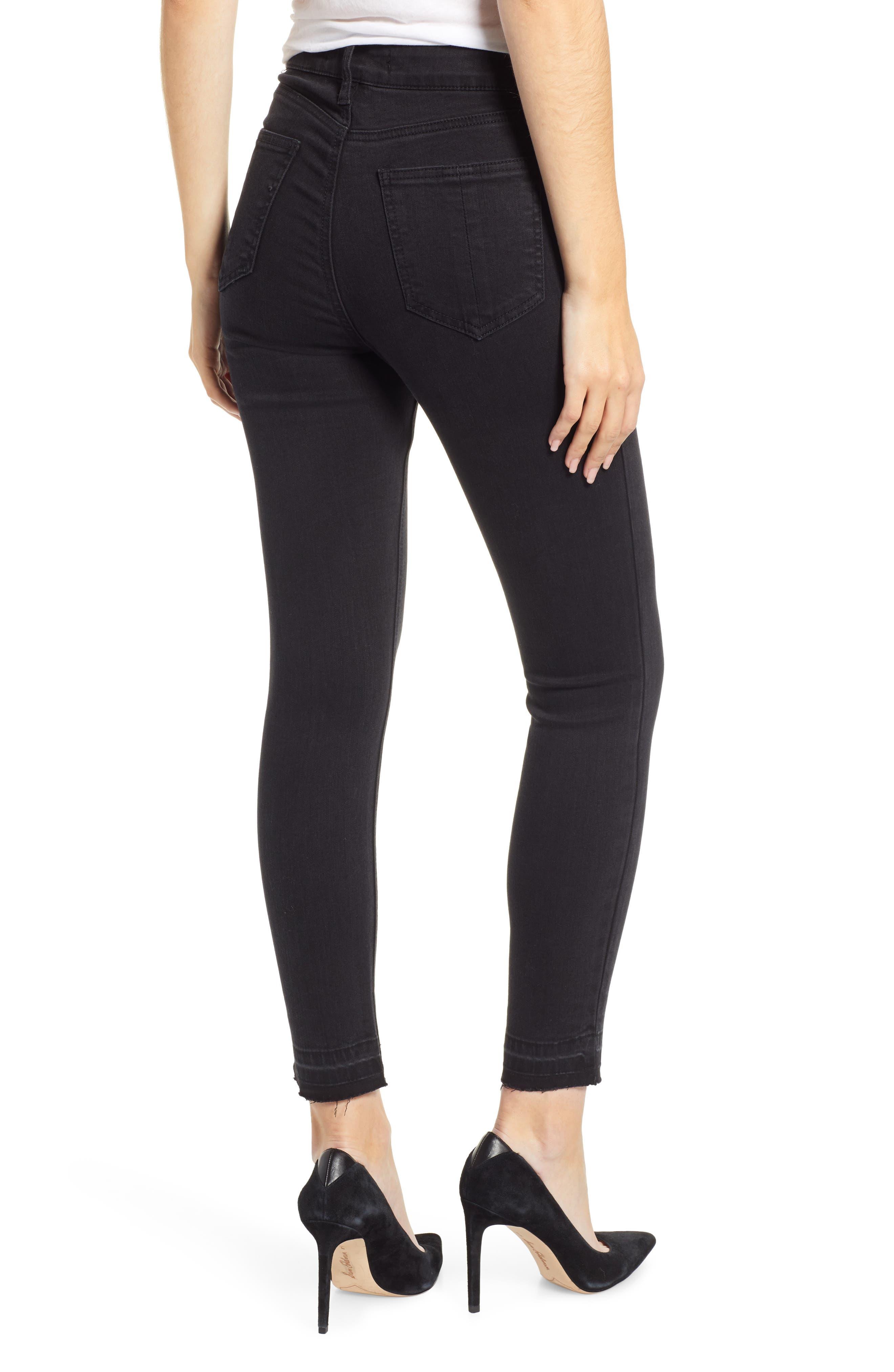 PROSPERITY DENIM, Release Hem Skinny Jeans, Alternate thumbnail 2, color, BLACK