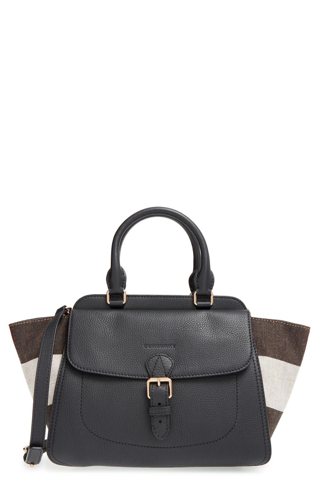 BURBERRY, 'Medium Harcourt' Check & Pebbled Leather Satchel, Main thumbnail 1, color, 001