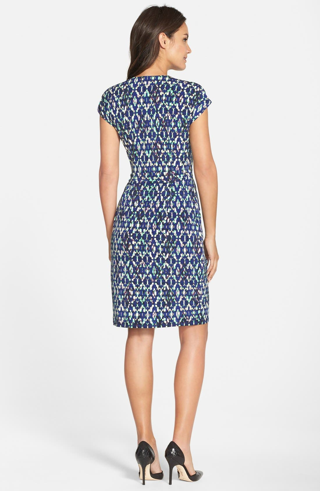 MAGGY LONDON, Ikat Print Wrap Dress, Alternate thumbnail 2, color, 400