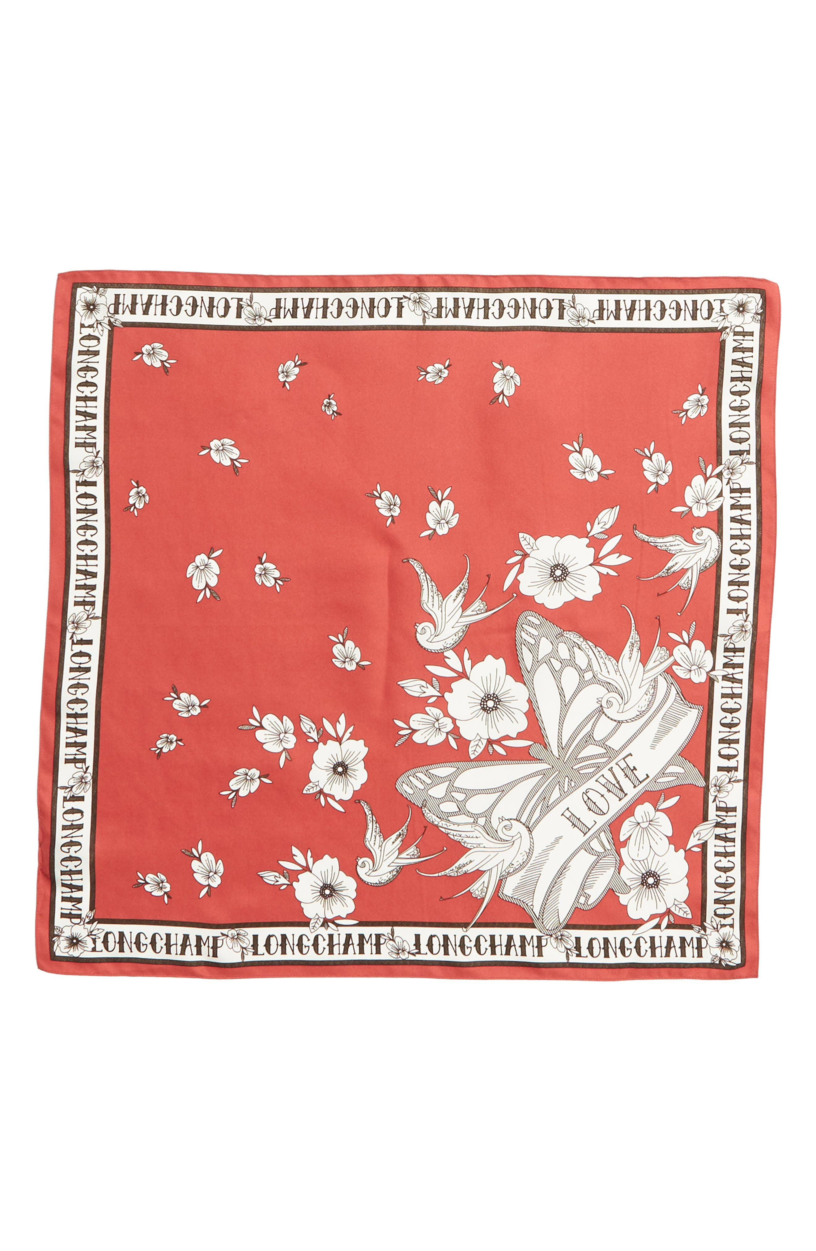 LONGCHAMP, Tattoo Silk Scarf, Main thumbnail 1, color, FIG