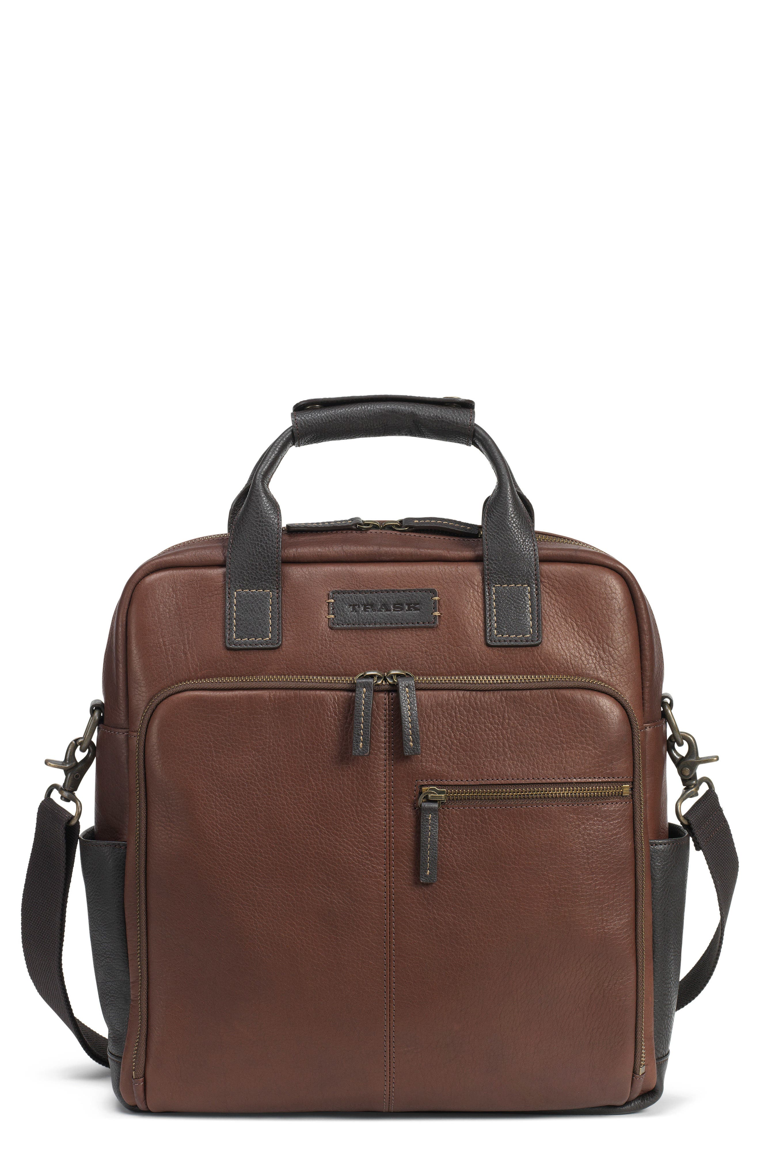 TRASK, Jackson Field Tote Bag, Main thumbnail 1, color, BROWN HORWEEN AMERICAN BISON