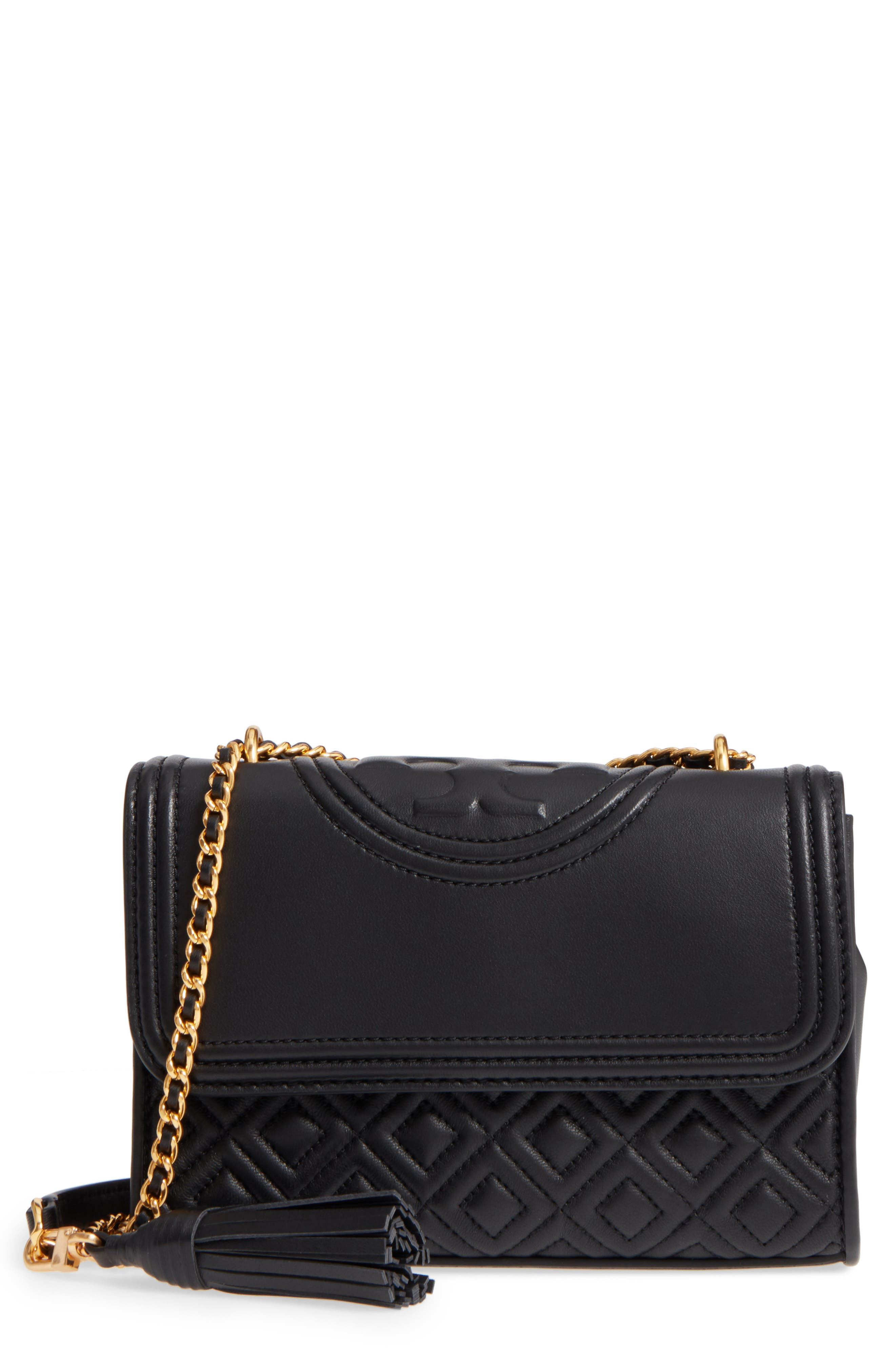 TORY BURCH, Small Fleming Leather Convertible Shoulder Bag, Main thumbnail 1, color, BLACK