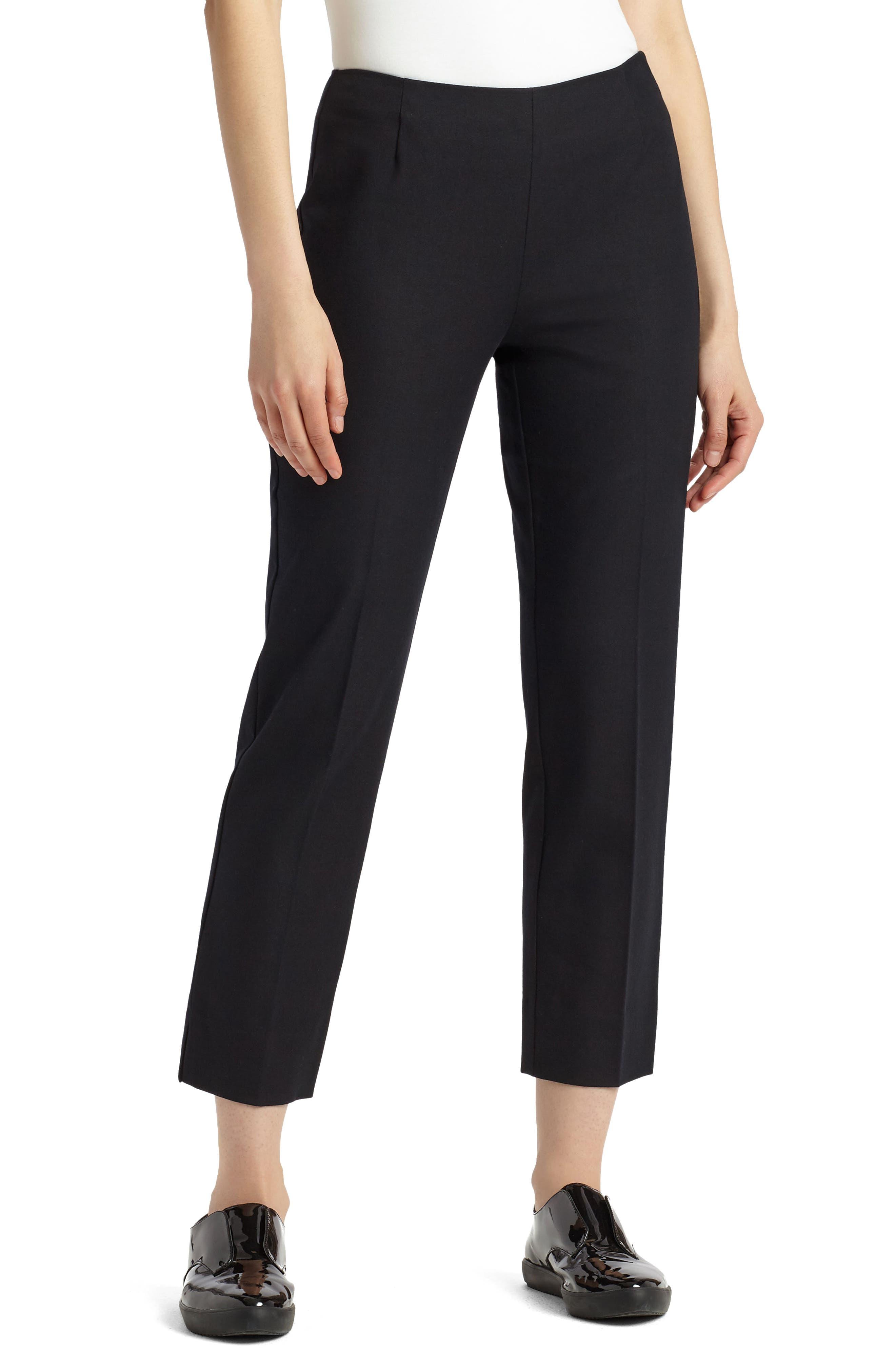LAFAYETTE 148 NEW YORK, Lexington Stretch Cotton Crop Pants, Main thumbnail 1, color, BLACK