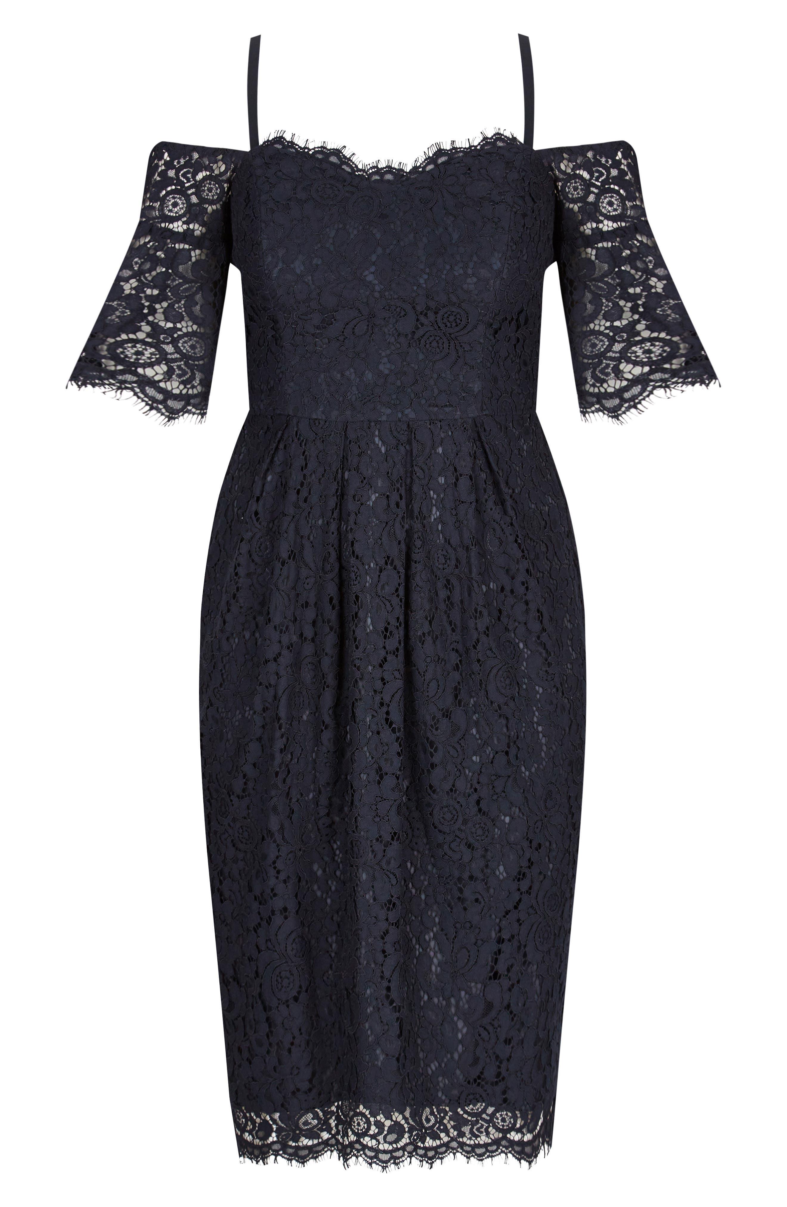 CITY CHIC, Amour Cold Shoulder Lace Sheath Dress, Alternate thumbnail 3, color, NAVY