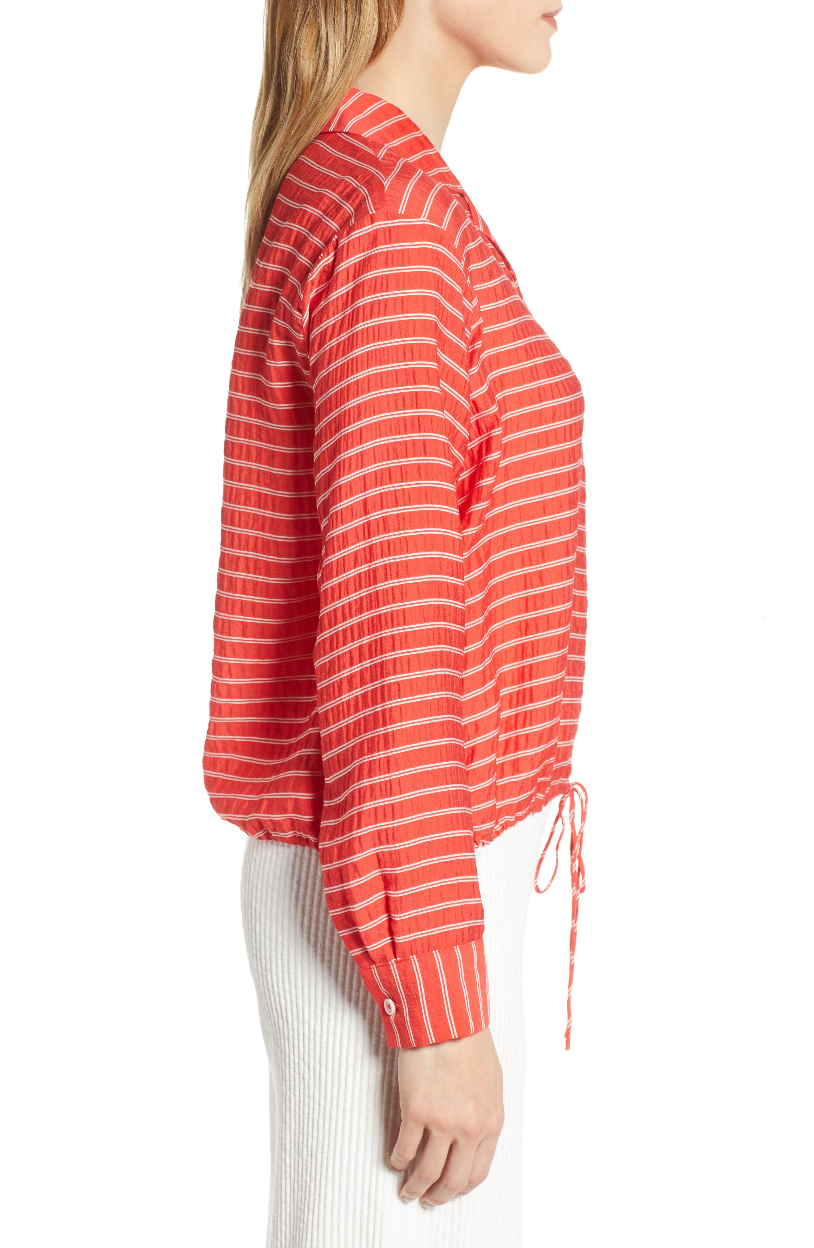 LOU & GREY, Sunny Stripe Drawstring Waist Blouse, Alternate thumbnail 3, color, 600