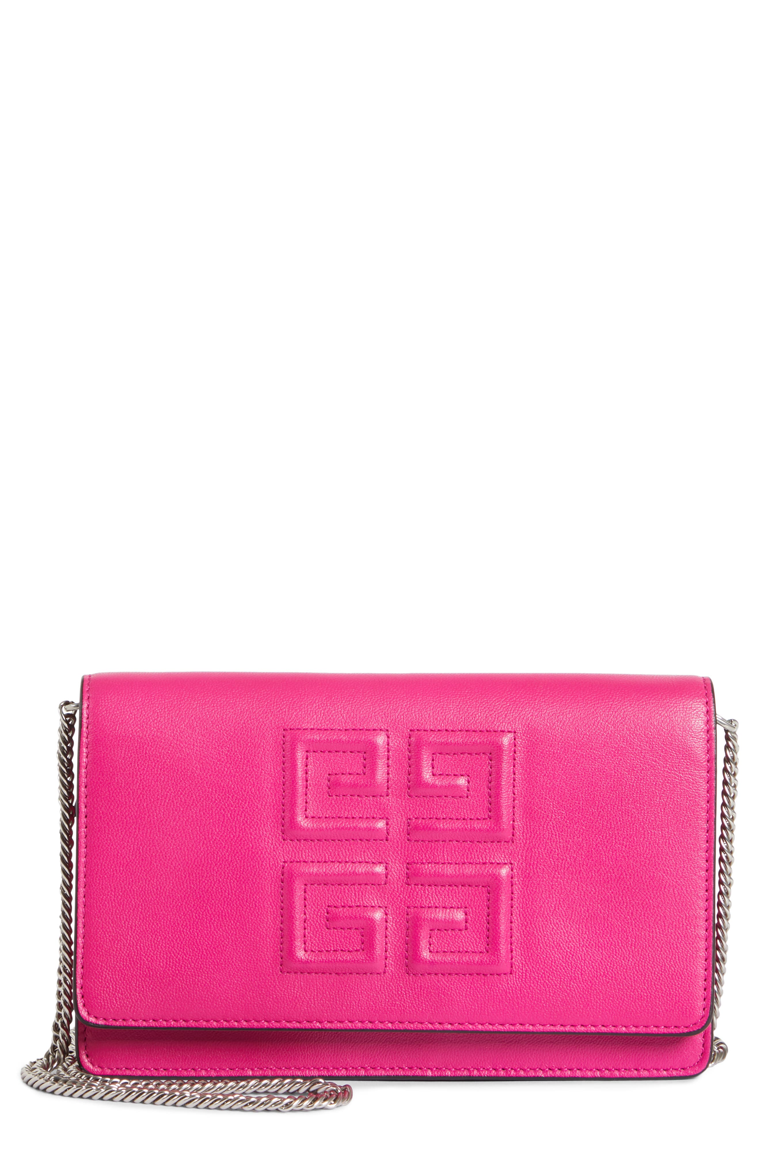 GIVENCHY Embossed Emblem Wallet on a Chain, Main, color, CYCLAMEN