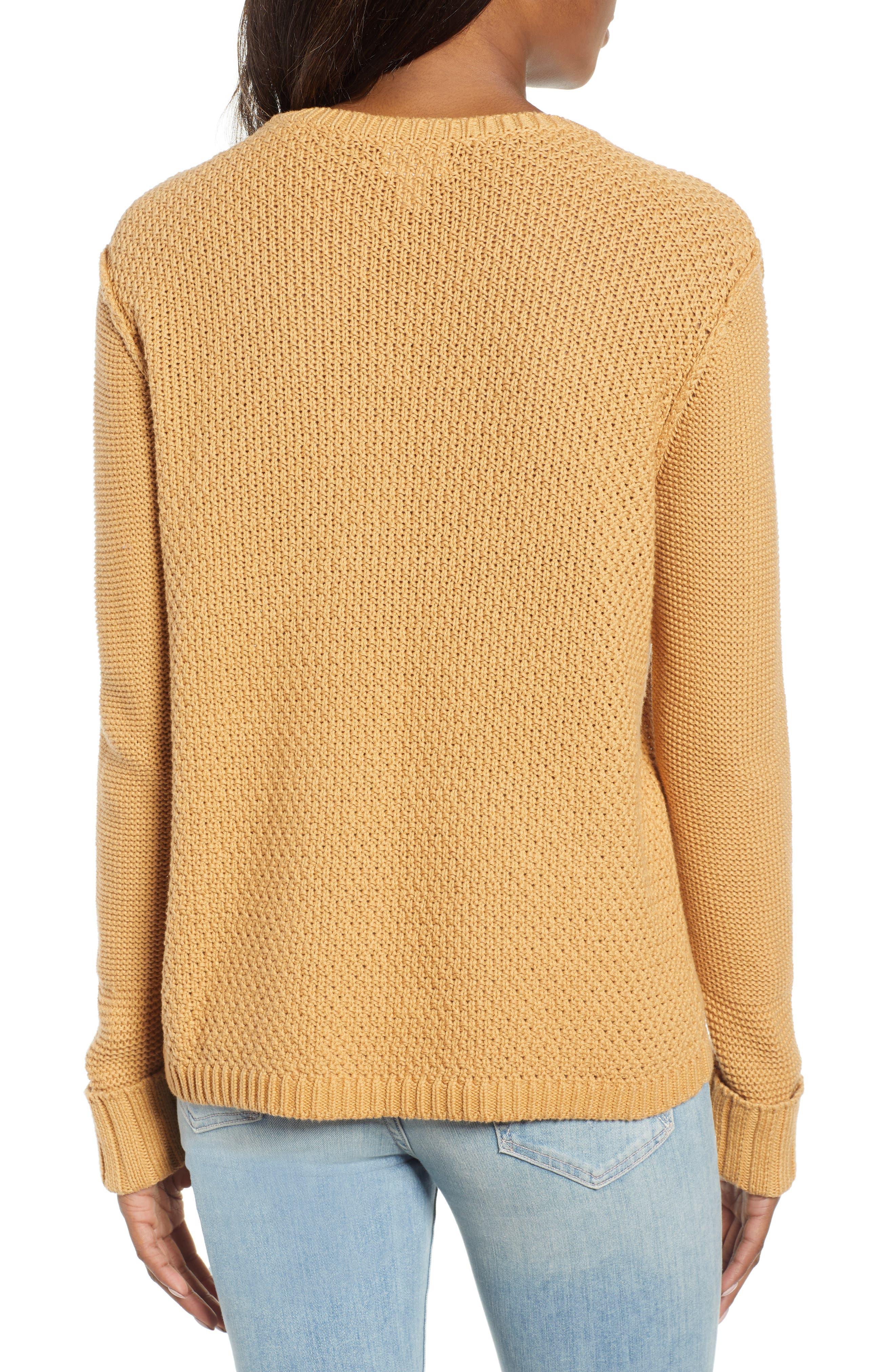 CASLON<SUP>®</SUP>, Mixed Stitch Sweater, Alternate thumbnail 2, color, TAN CINNAMON