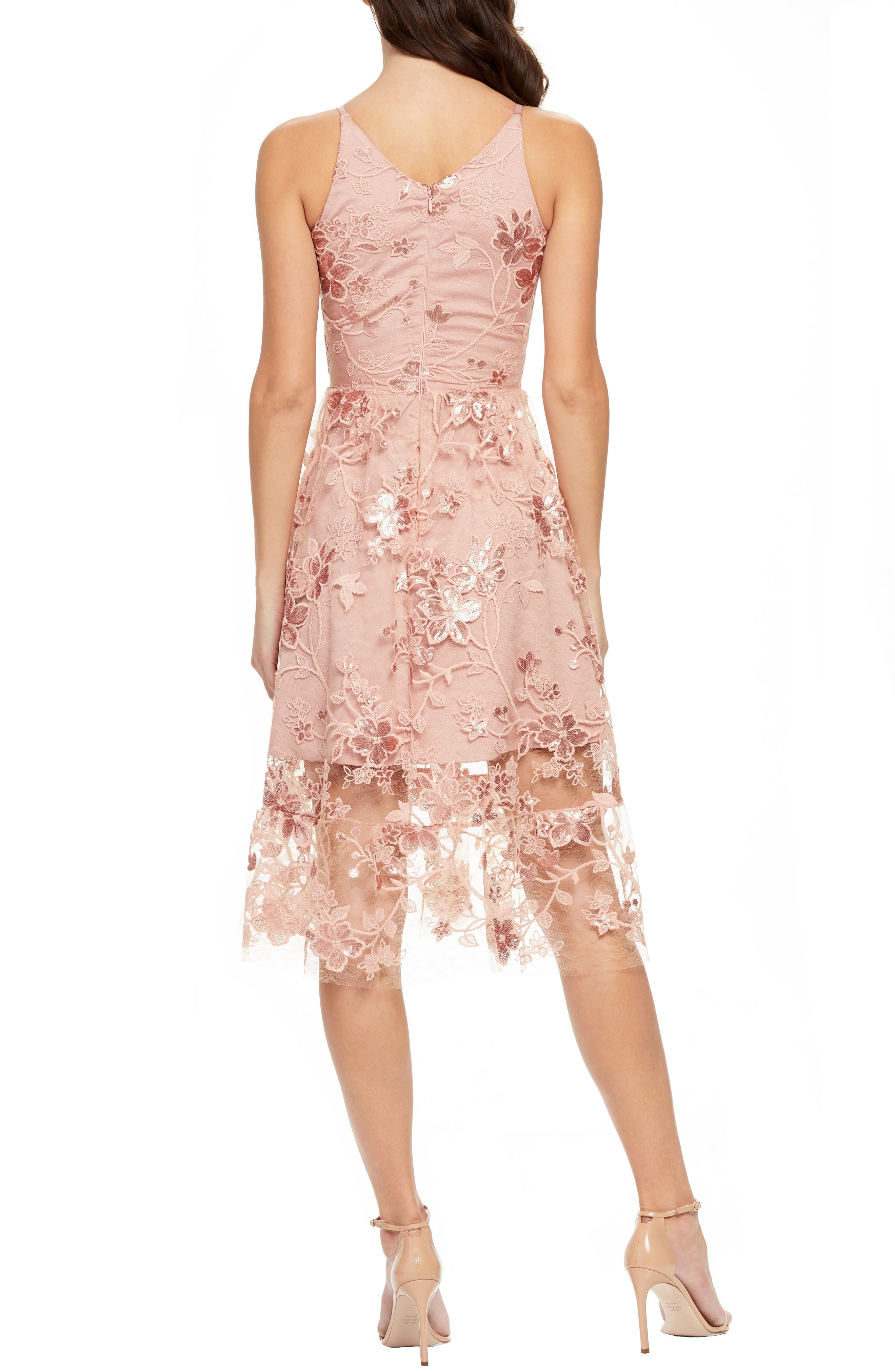 DRESS THE POPULATION, Ally 3D Floral Mesh Cocktail Dress, Alternate thumbnail 2, color, DUSTY PINK