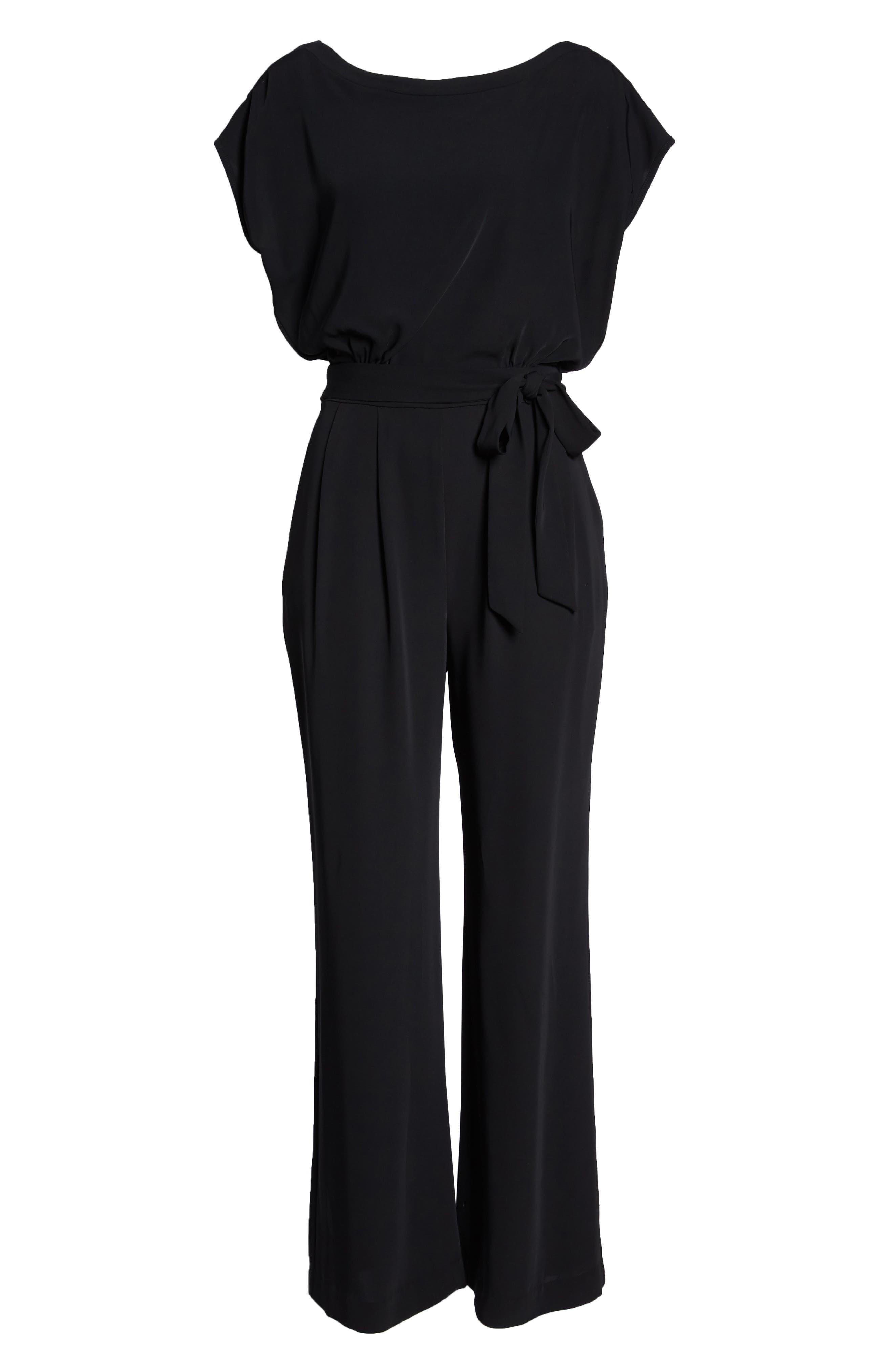 ELIZA J, Cap Sleeve Wide Leg Jumpsuit, Alternate thumbnail 7, color, BLACK