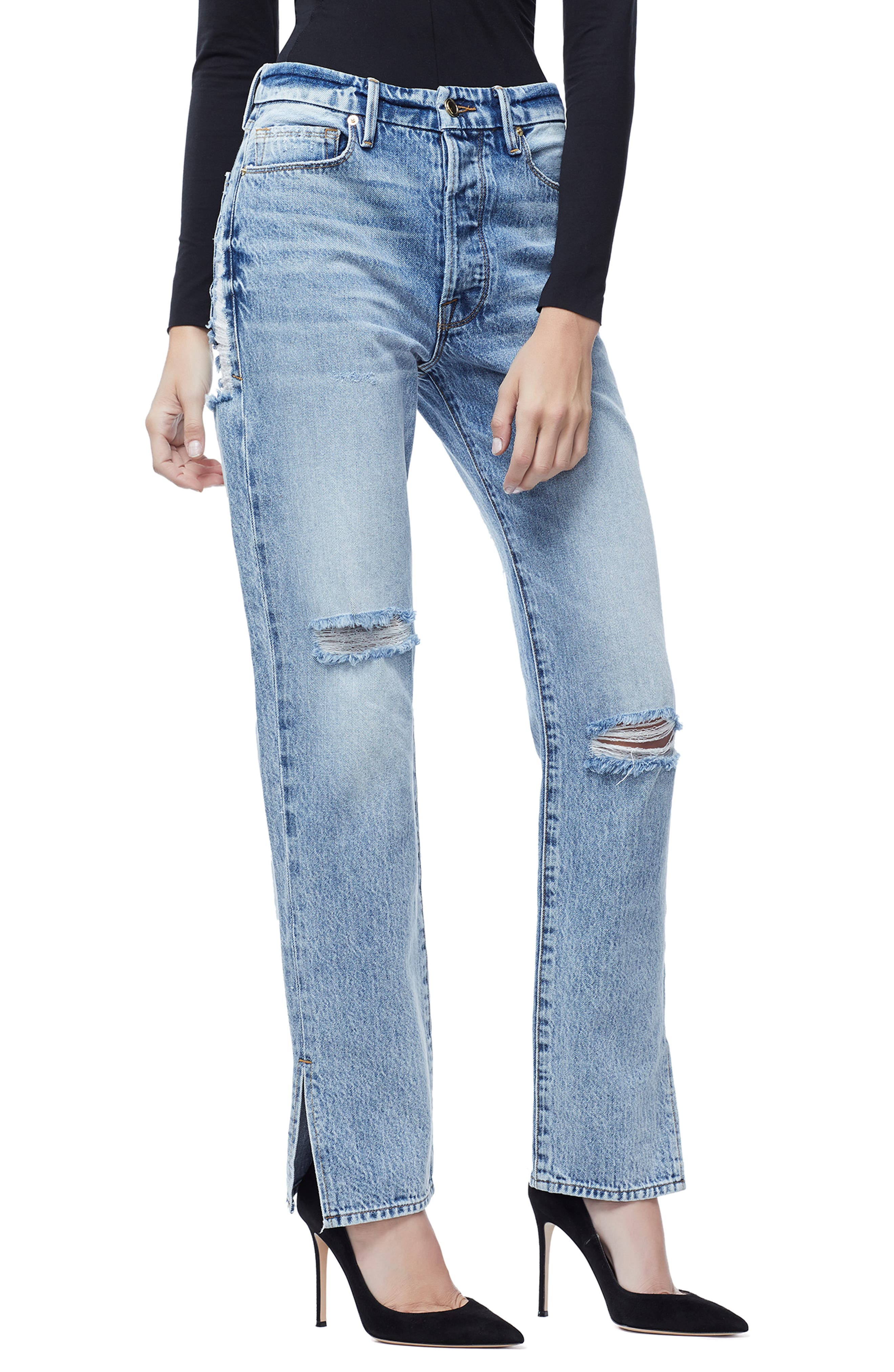 GOOD AMERICAN, Good Boy High Rise Ripped Boyfriend Jeans, Alternate thumbnail 4, color, BLUE 177