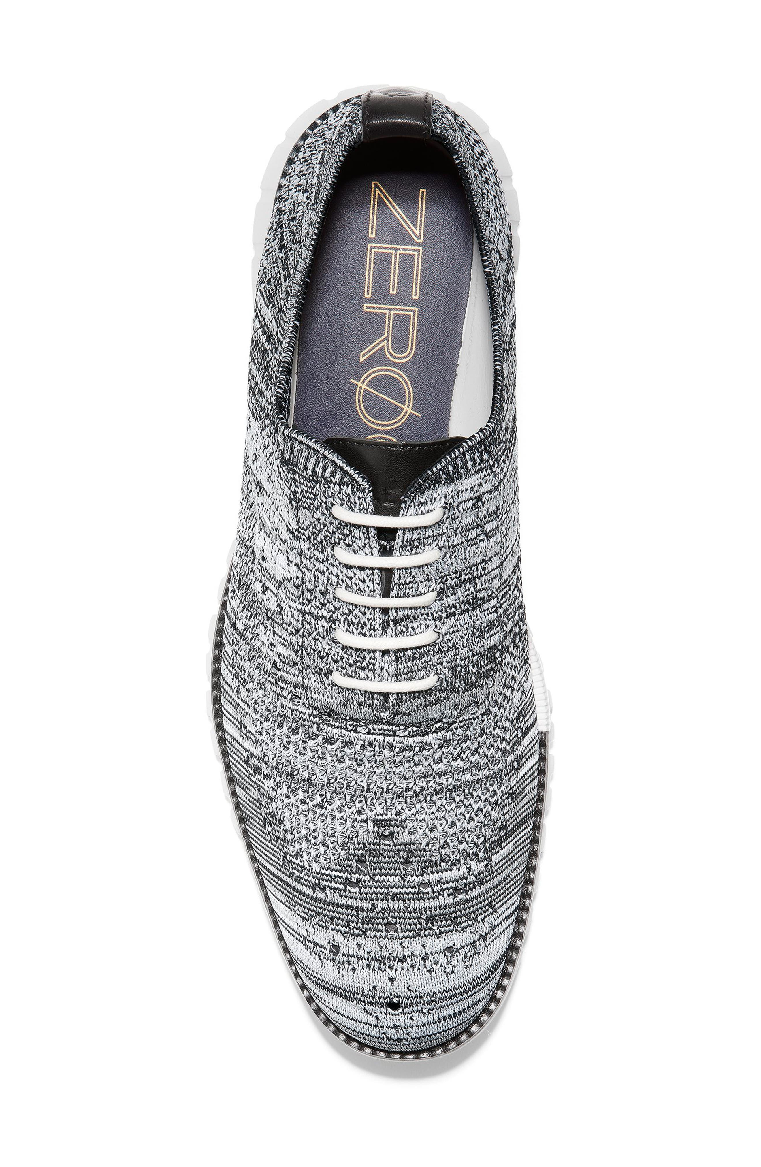 COLE HAAN, ZeroGrand Stitchlite Oxford, Alternate thumbnail 5, color, BLACK/ OPTIC WHITE/ SLEET KNIT