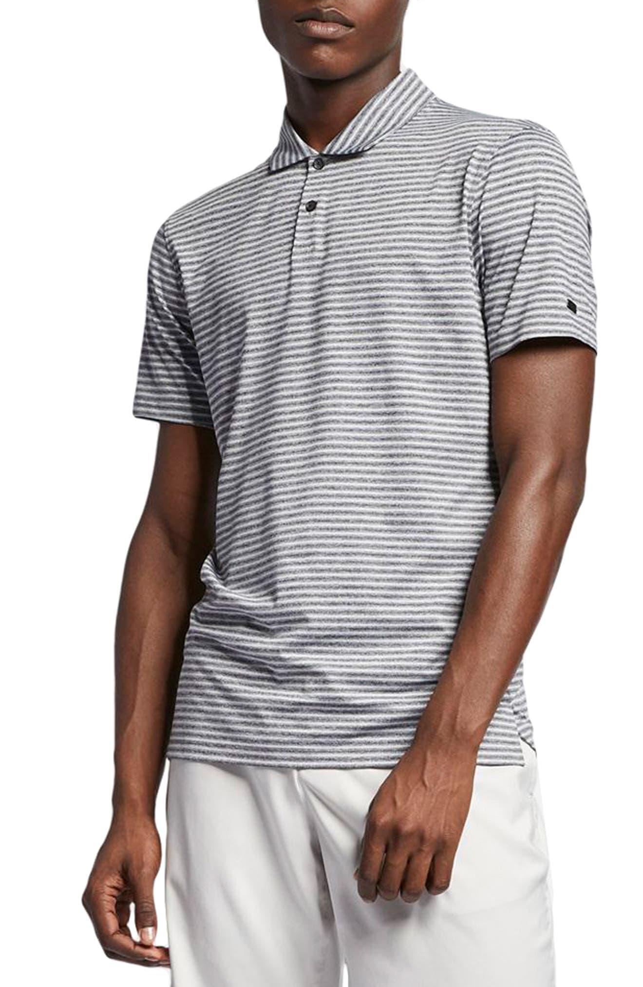 NIKE, TW Stripe Dri-FIT Polo, Main thumbnail 1, color, BLACK