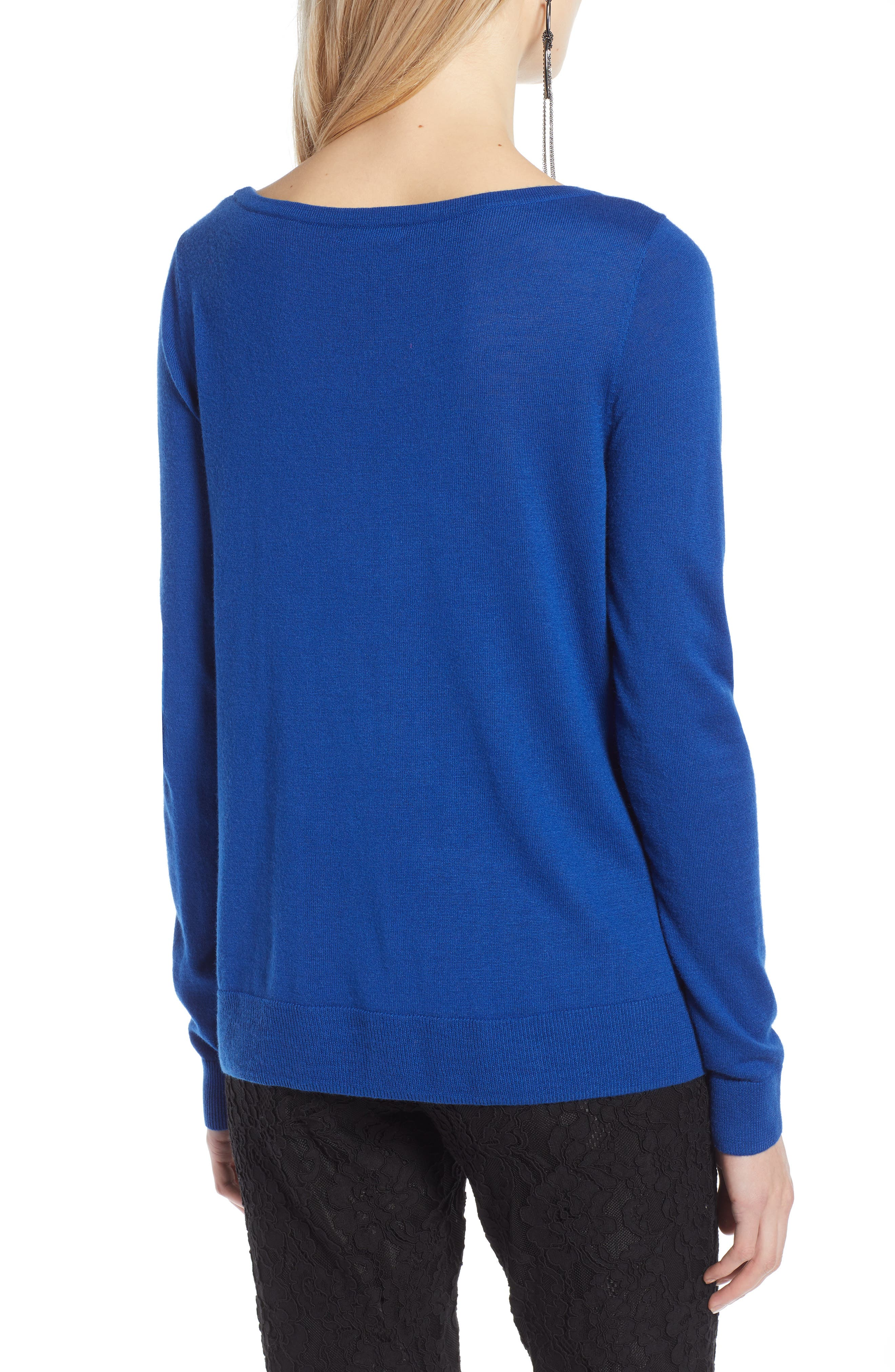 HALOGEN<SUP>®</SUP>, Crossover Front Knit Sweater, Alternate thumbnail 2, color, BLUE MAZARINE