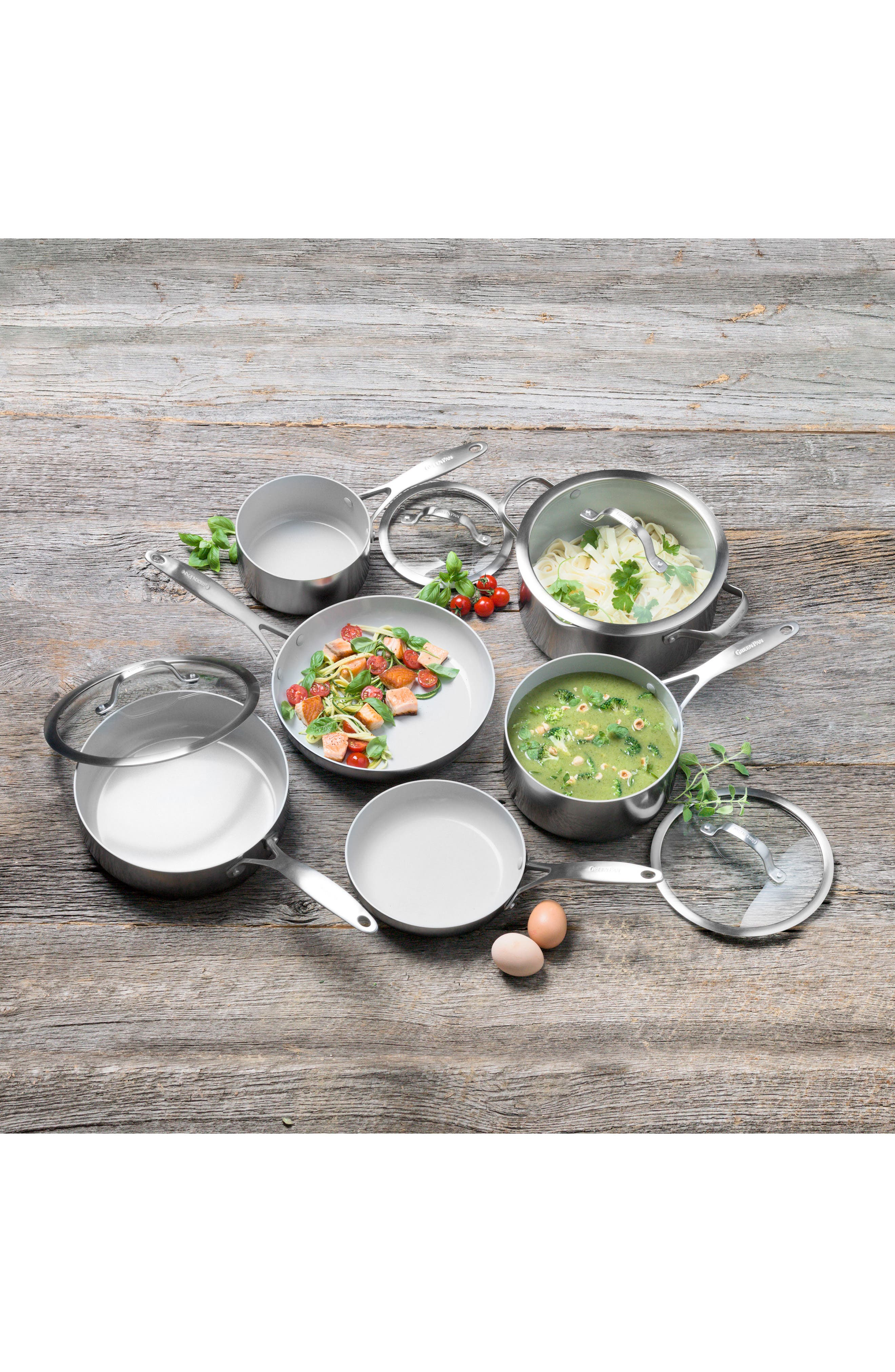 GREENPAN, Venice Pro 10-Piece Multilayer Stainless Steel Ceramic Nonstick Cookware Set, Alternate thumbnail 4, color, STAINLESS STEEL