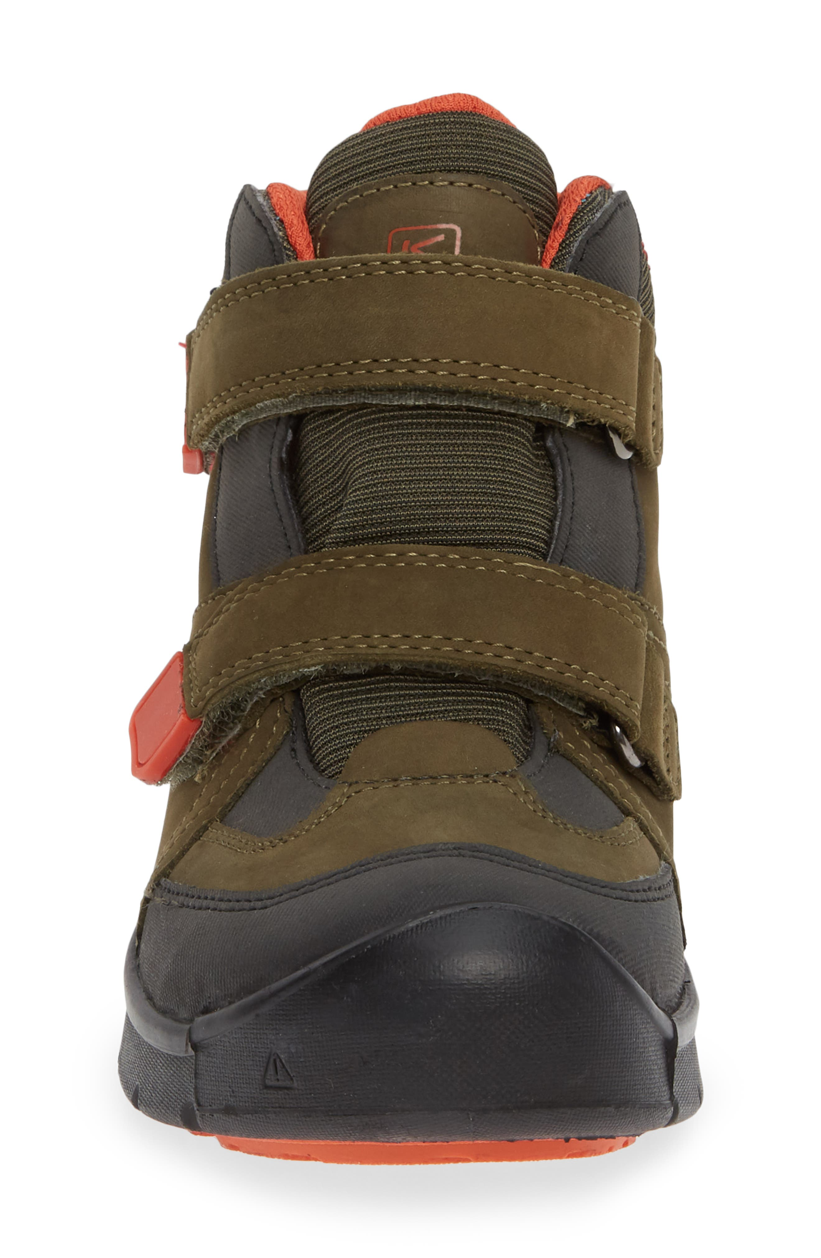 KEEN, Hikeport Strap Waterproof Mid Boot, Alternate thumbnail 4, color, MARTINI OLIVE/ PUMPKIN