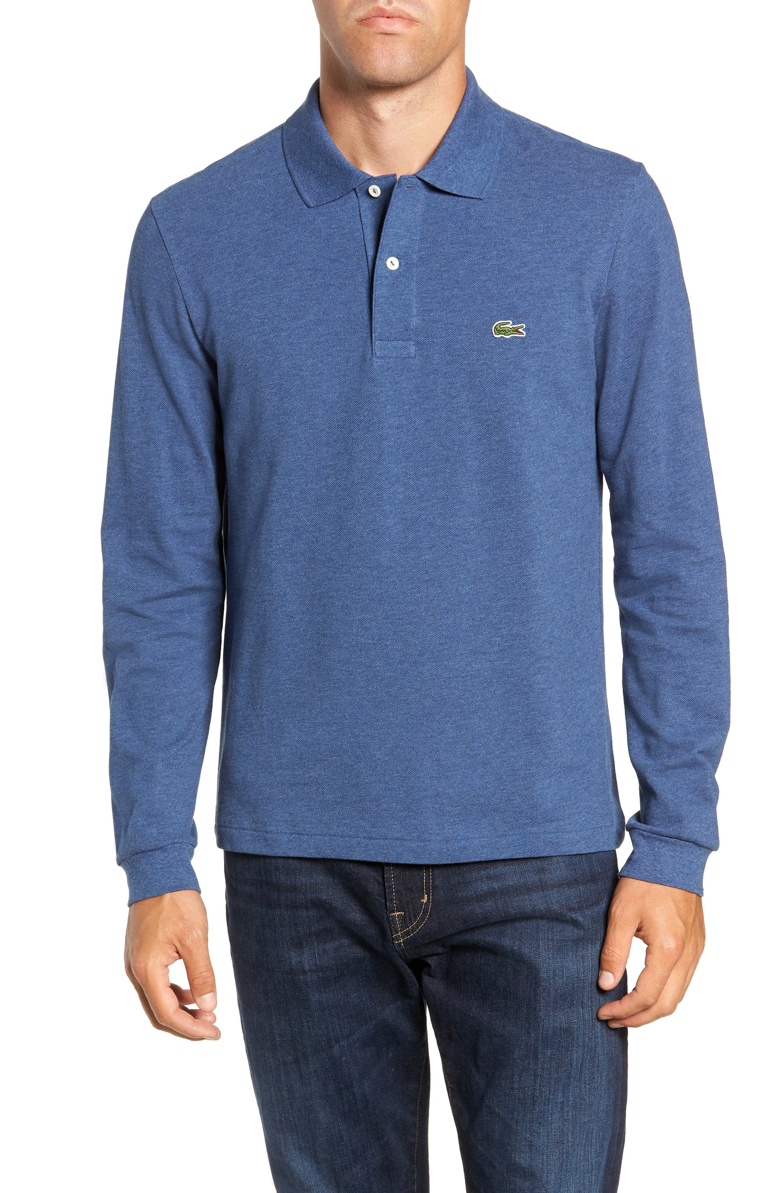 LACOSTE, Long Sleeve Piqué Polo, Main thumbnail 1, color, CRUISE CHINE