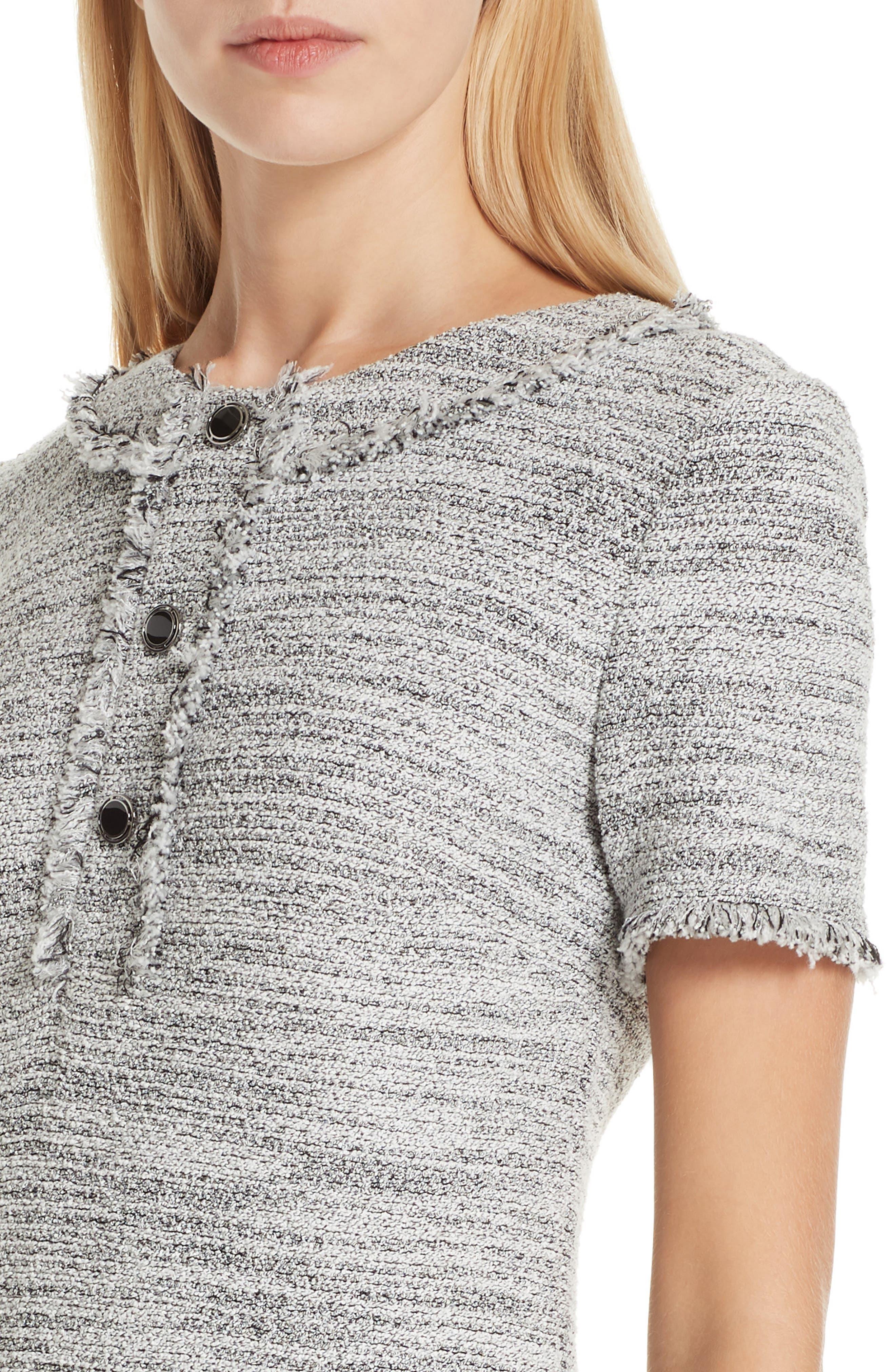 ST. JOHN COLLECTION, Eaton Place Tweed Knit Dress, Alternate thumbnail 5, color, CAVIAR/ CREAM
