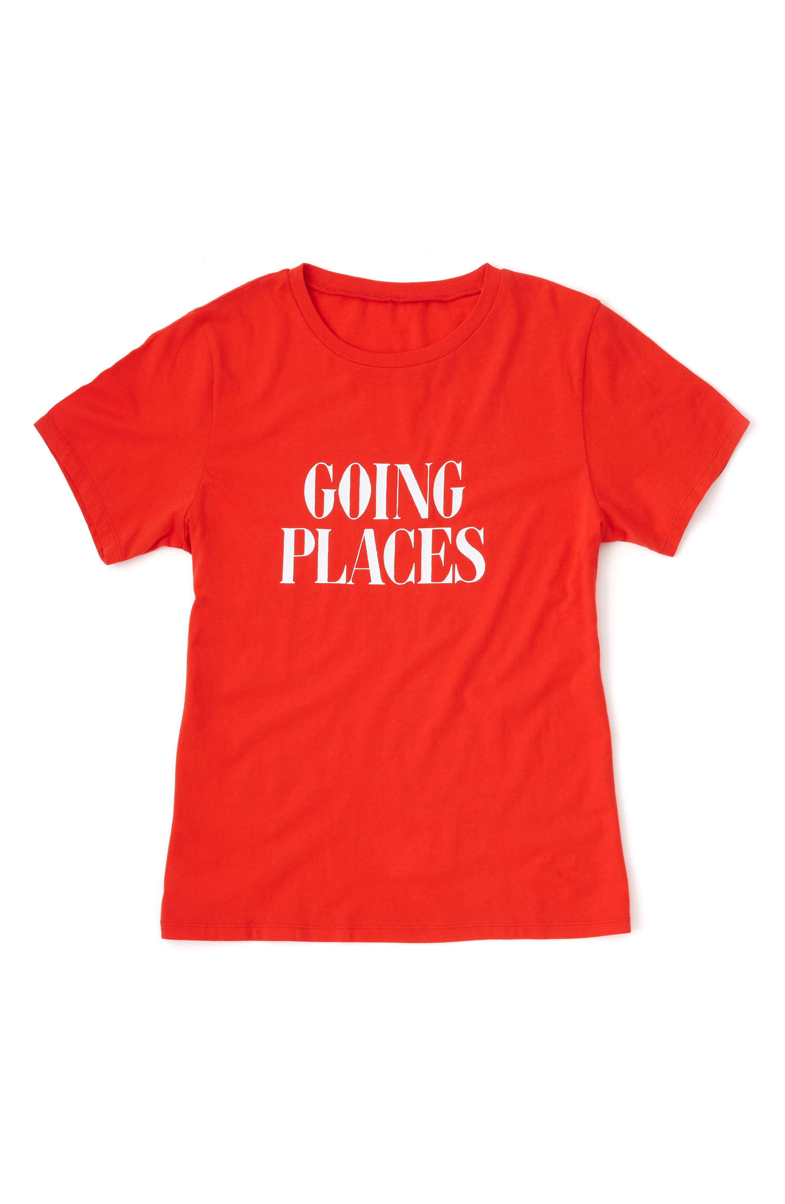 BAN.DO, Going Places Classic Tee, Alternate thumbnail 2, color, TOMATO RED