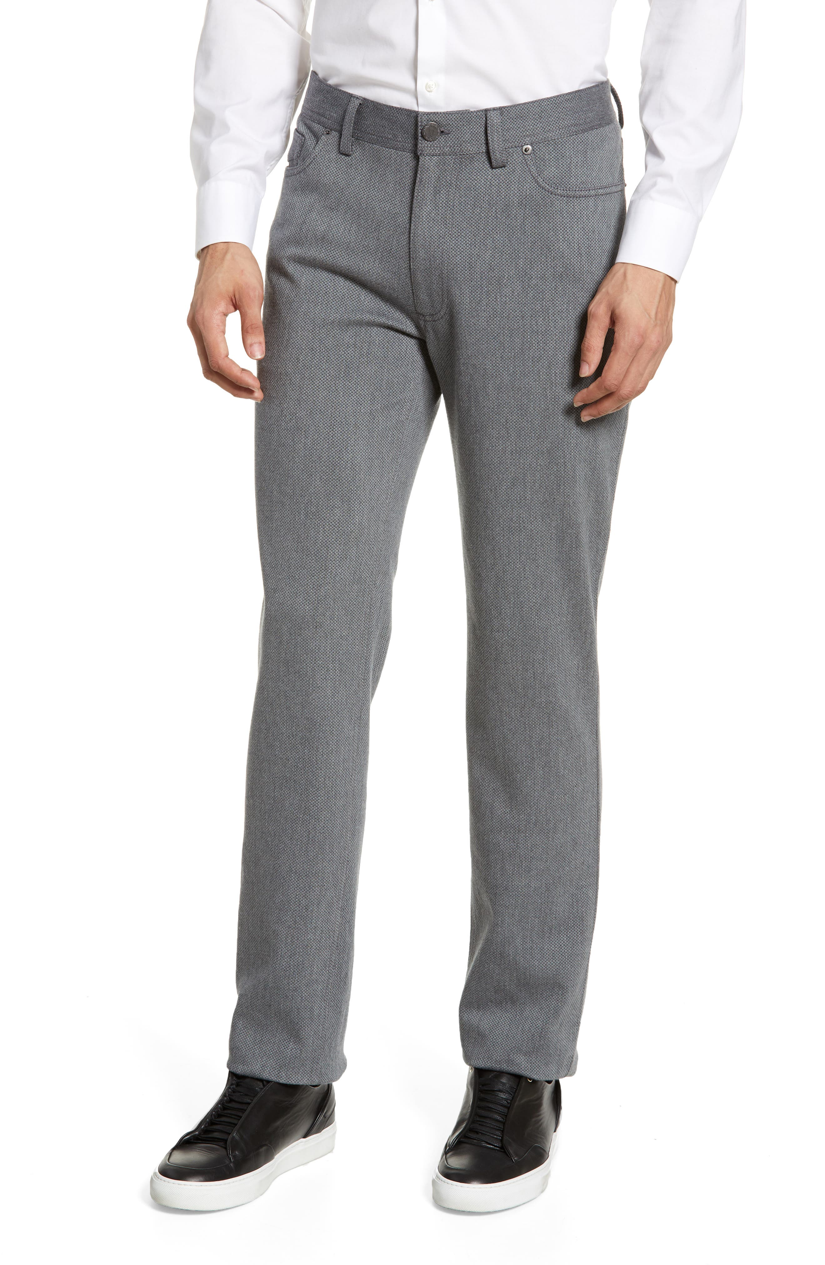 VINCE CAMUTO, Straight Leg Five Pocket Stretch Pants, Main thumbnail 1, color, HEATHER CHARCOAL CROSSHATCH
