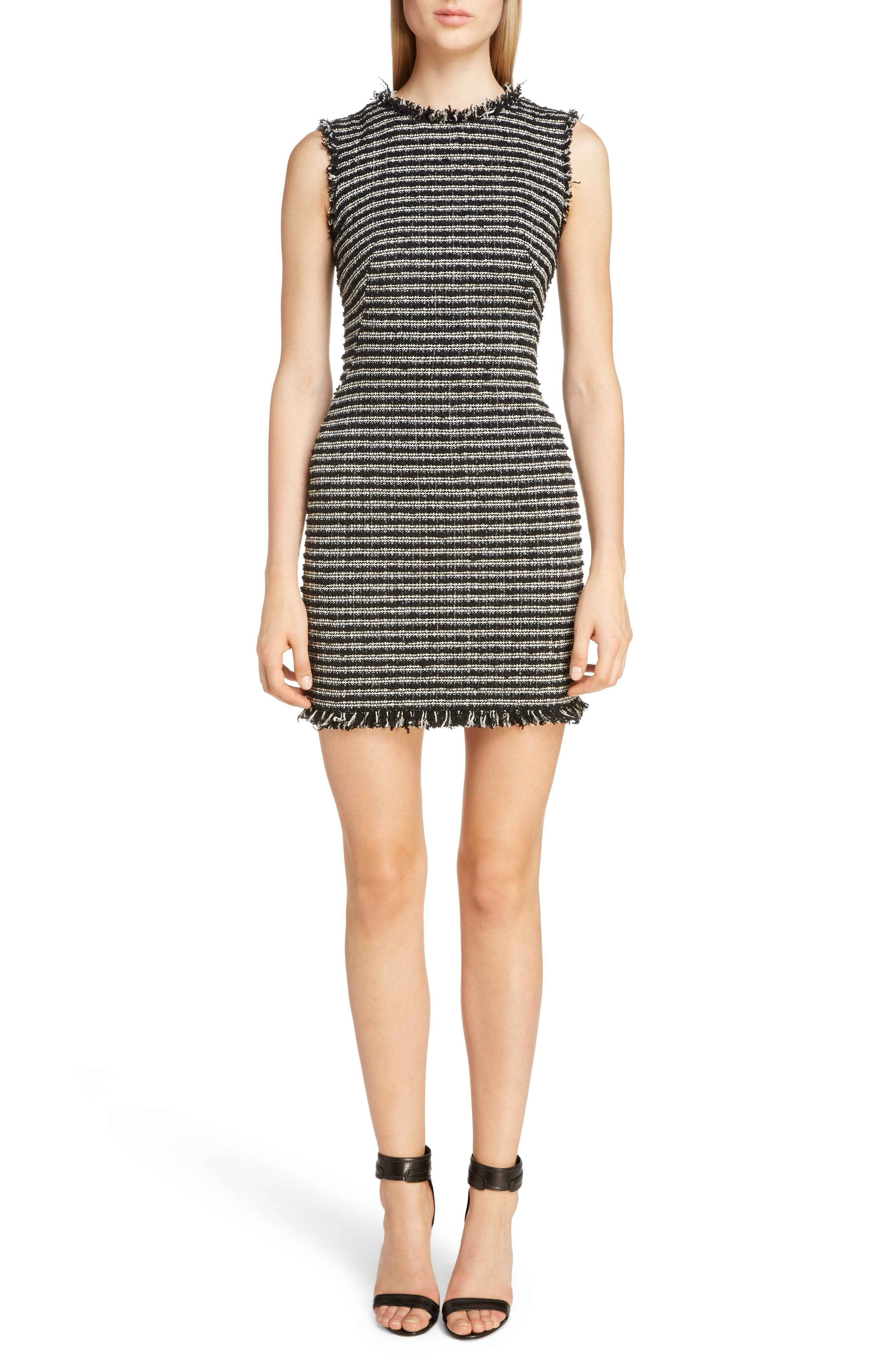Alexander Mcqueen Frayed Tweed Minidress, US / 48 IT - Black